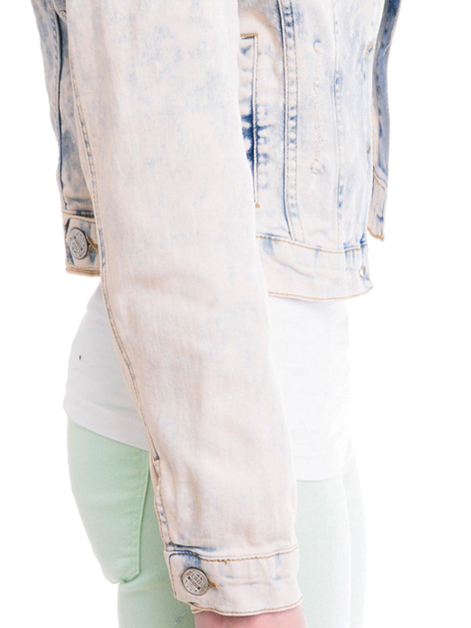 Jasnoniebieska marmurkowa kurtka jeansowa damska                                  zdj.                                  6