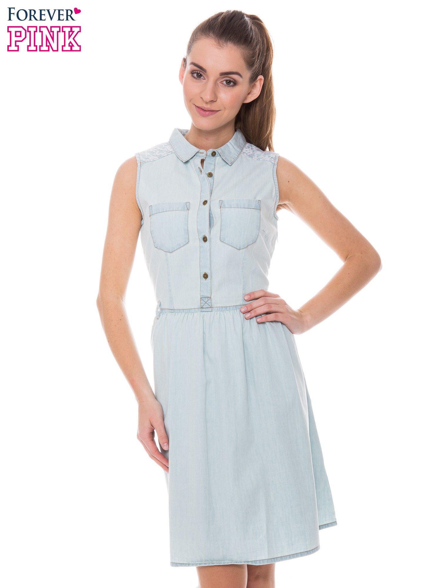 9454a2ebb6 Jeansowa Rozkloszowana Sukienka Natalie Swing Swing Fashion Store.  Jasnoniebieska Rozkloszowana Sukienka Jeansowa Z Koronkowymi