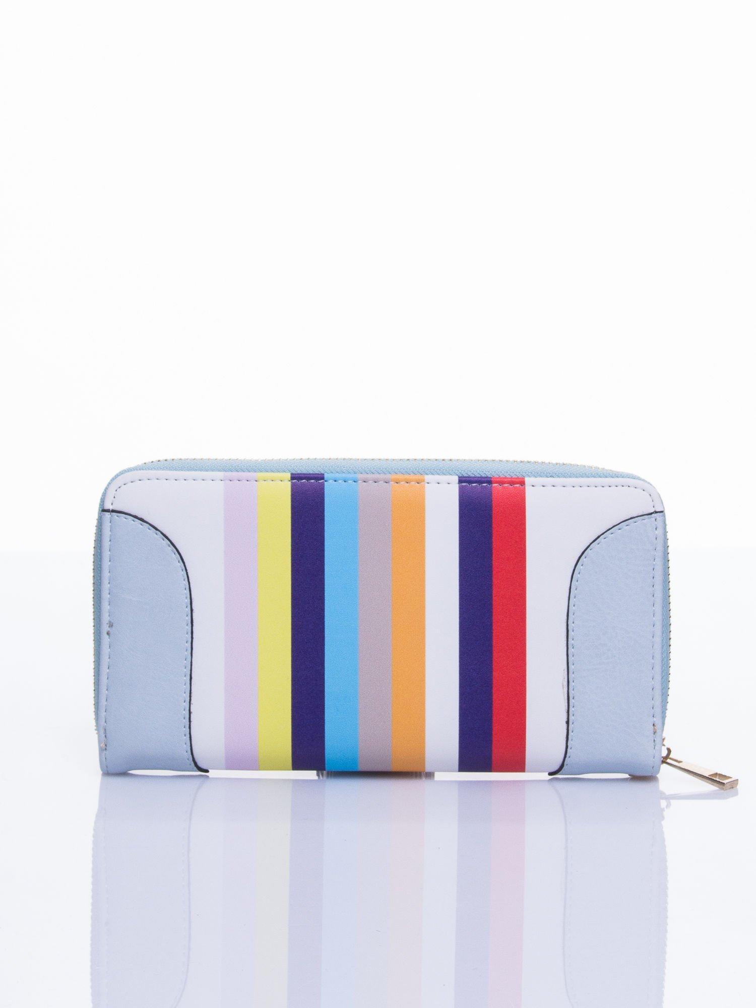 Jasnoniebieski portfel w paski z kieszonką                                  zdj.                                  1