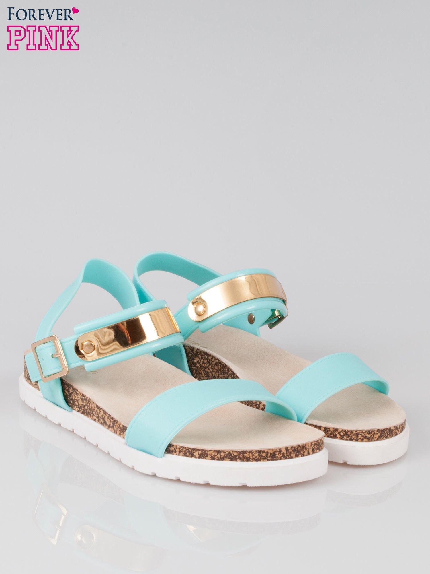 Jasnoniebieskie sandały damskie z blaszką                                  zdj.                                  2