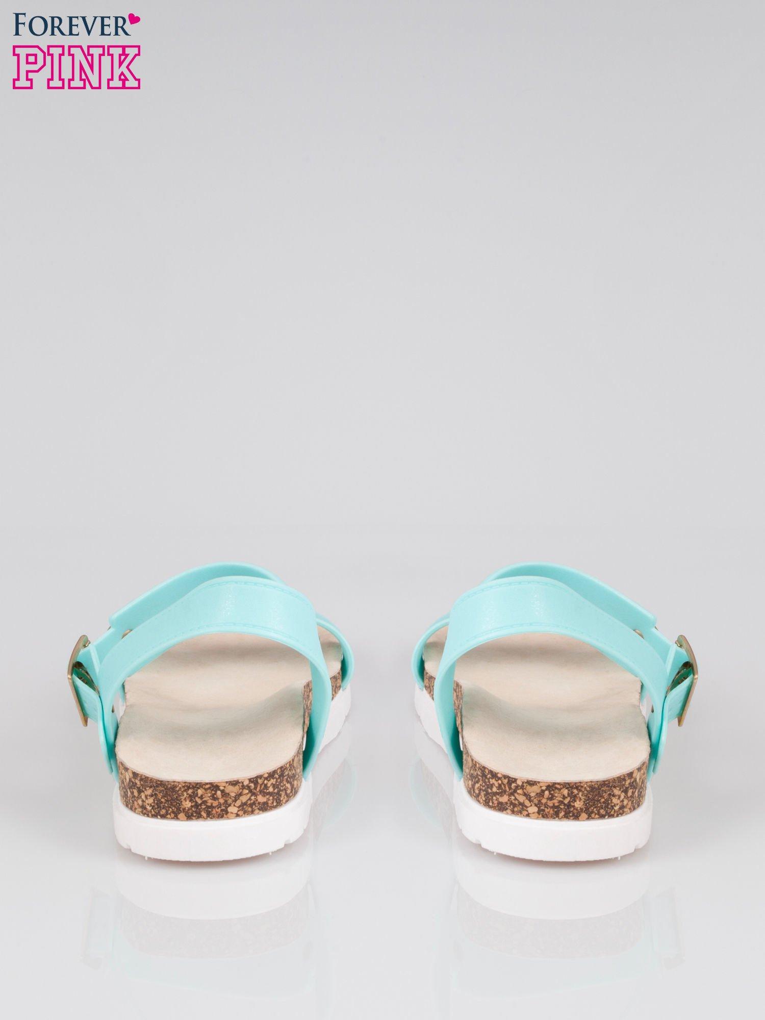 Jasnoniebieskie sandały damskie z blaszką                                  zdj.                                  3