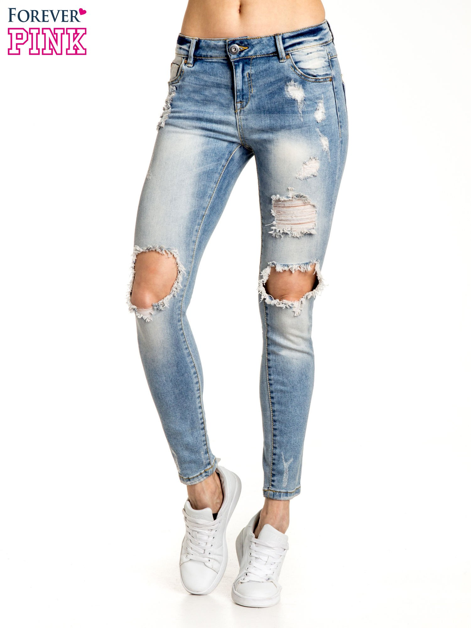 Jasnoniebieskie spodnie skinny jeans ripped knee                                  zdj.                                  1