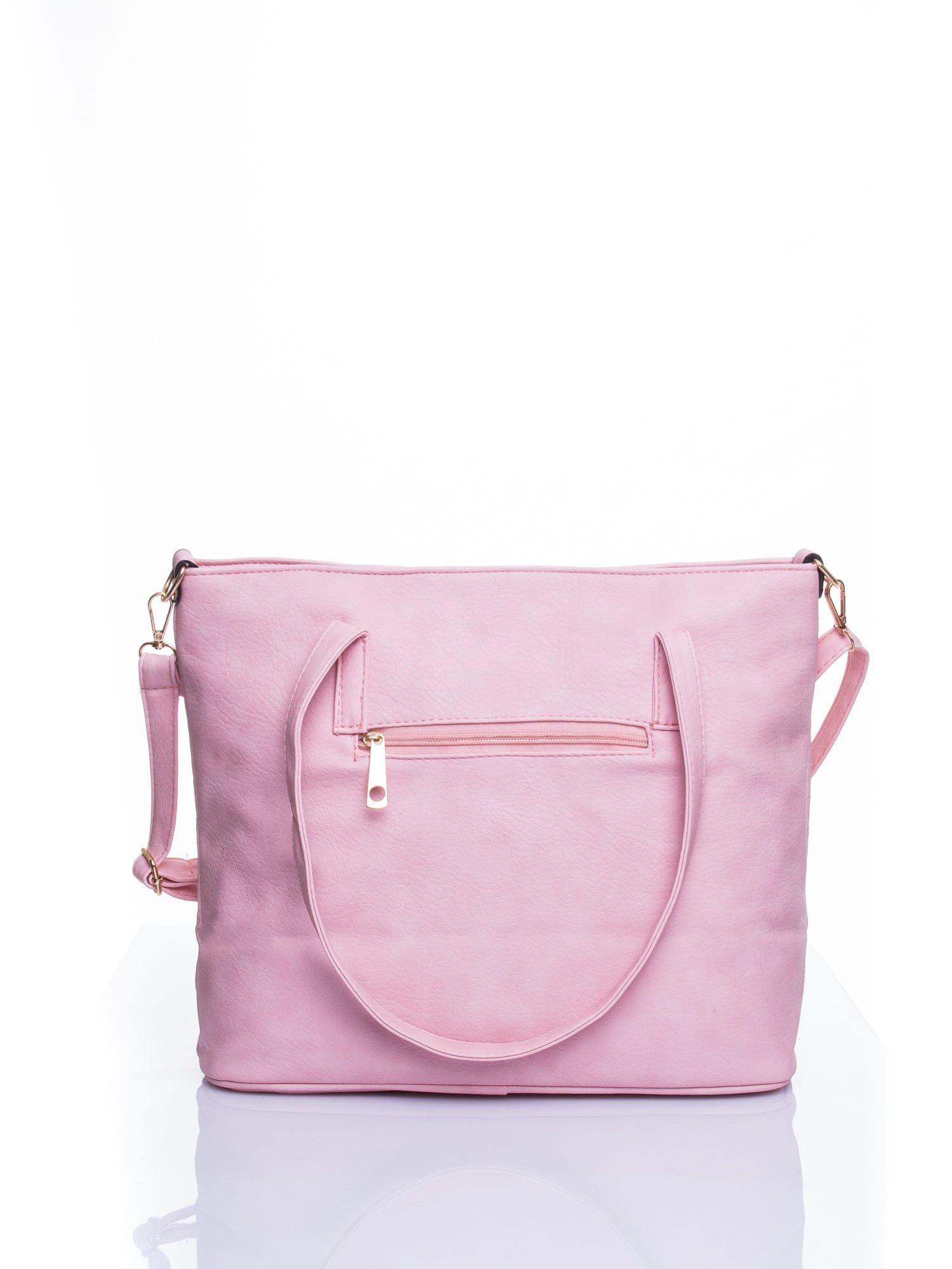 Jasnoróżowa fakturowana torba shopper bag                                  zdj.                                  3