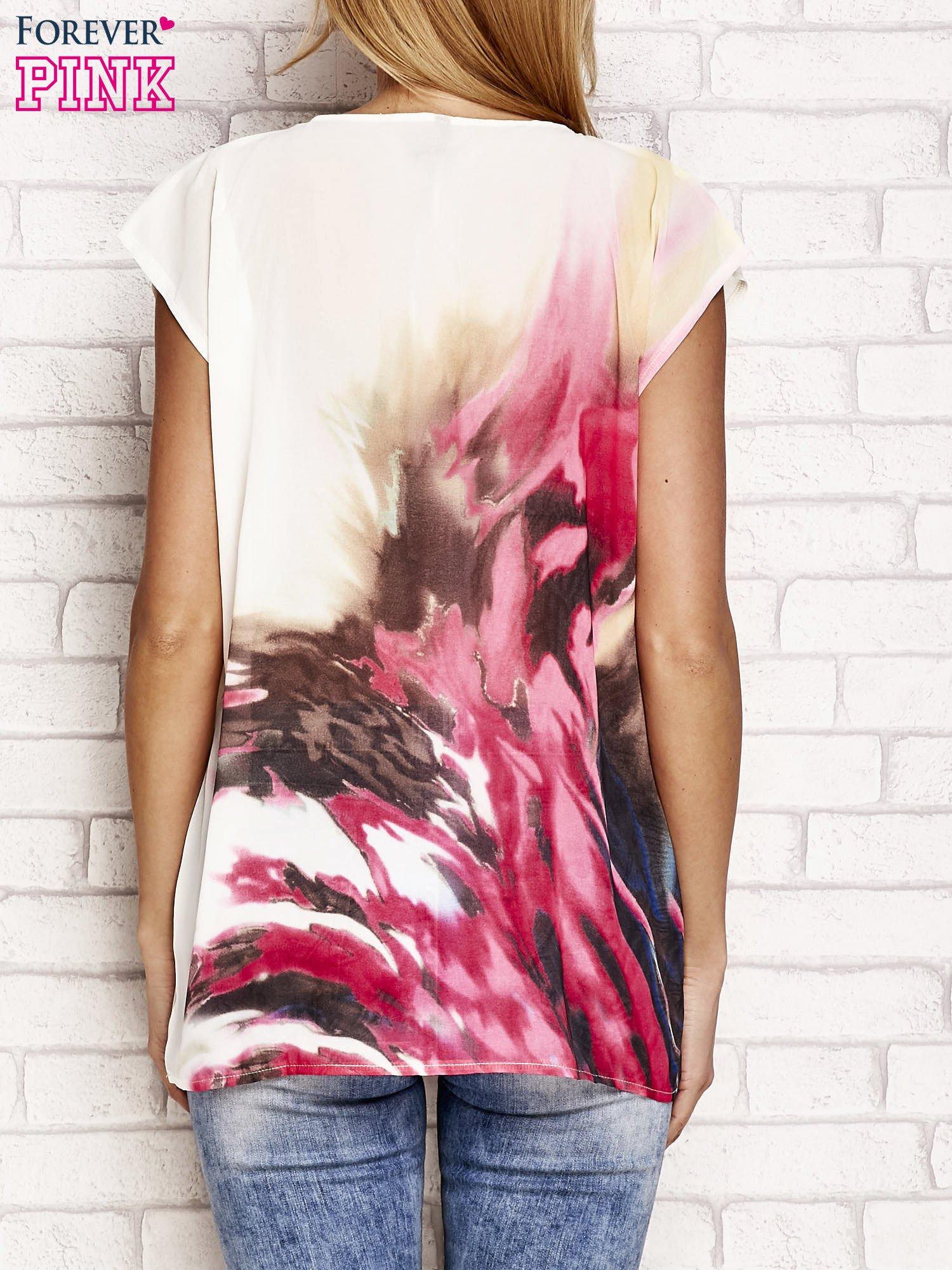 Jasnoróżowa koszula z abstrakcyjnym nadrukiem                                  zdj.                                  2