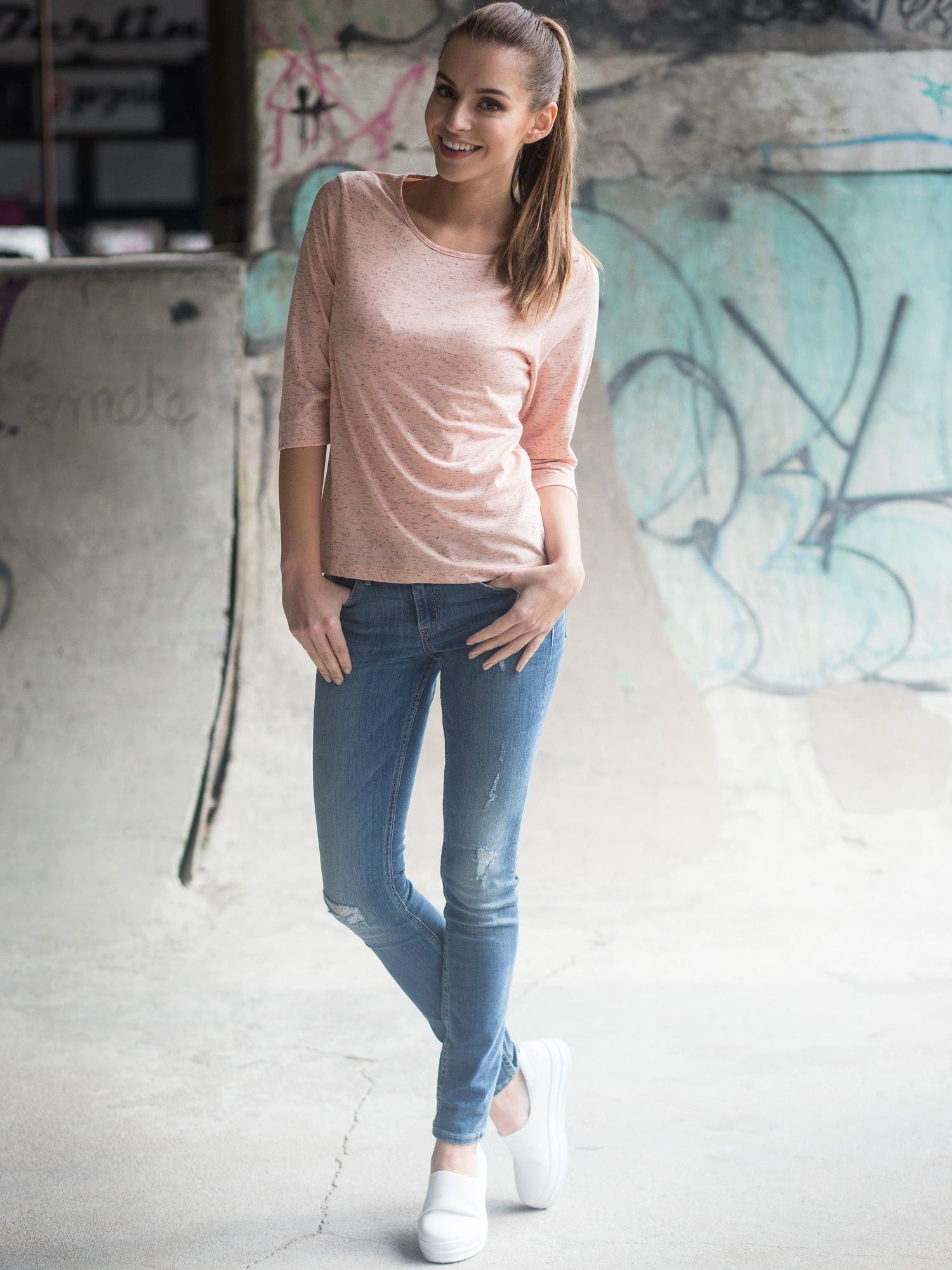 Jasnoróżowa melanżowa bluzka z rękawami 3/4                                  zdj.                                  10
