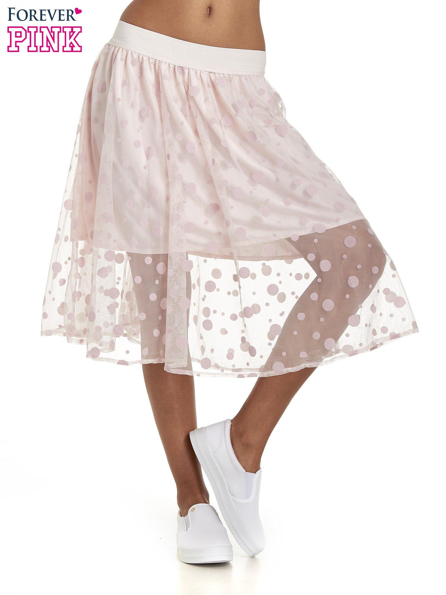 Jasnoróżowa spódnica z tiulową warstwą w groszki                                  zdj.                                  1