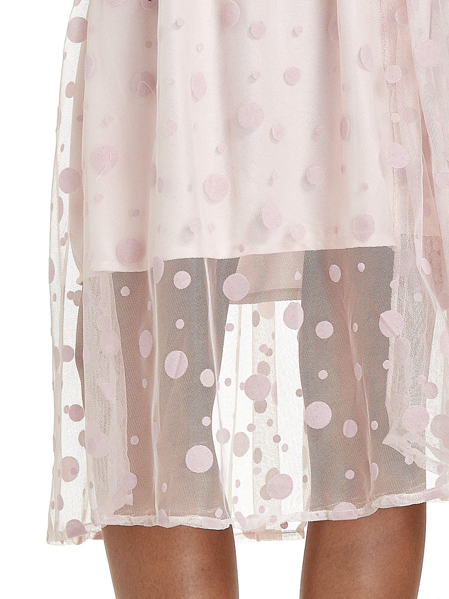 Jasnoróżowa spódnica z tiulową warstwą w groszki                                  zdj.                                  7