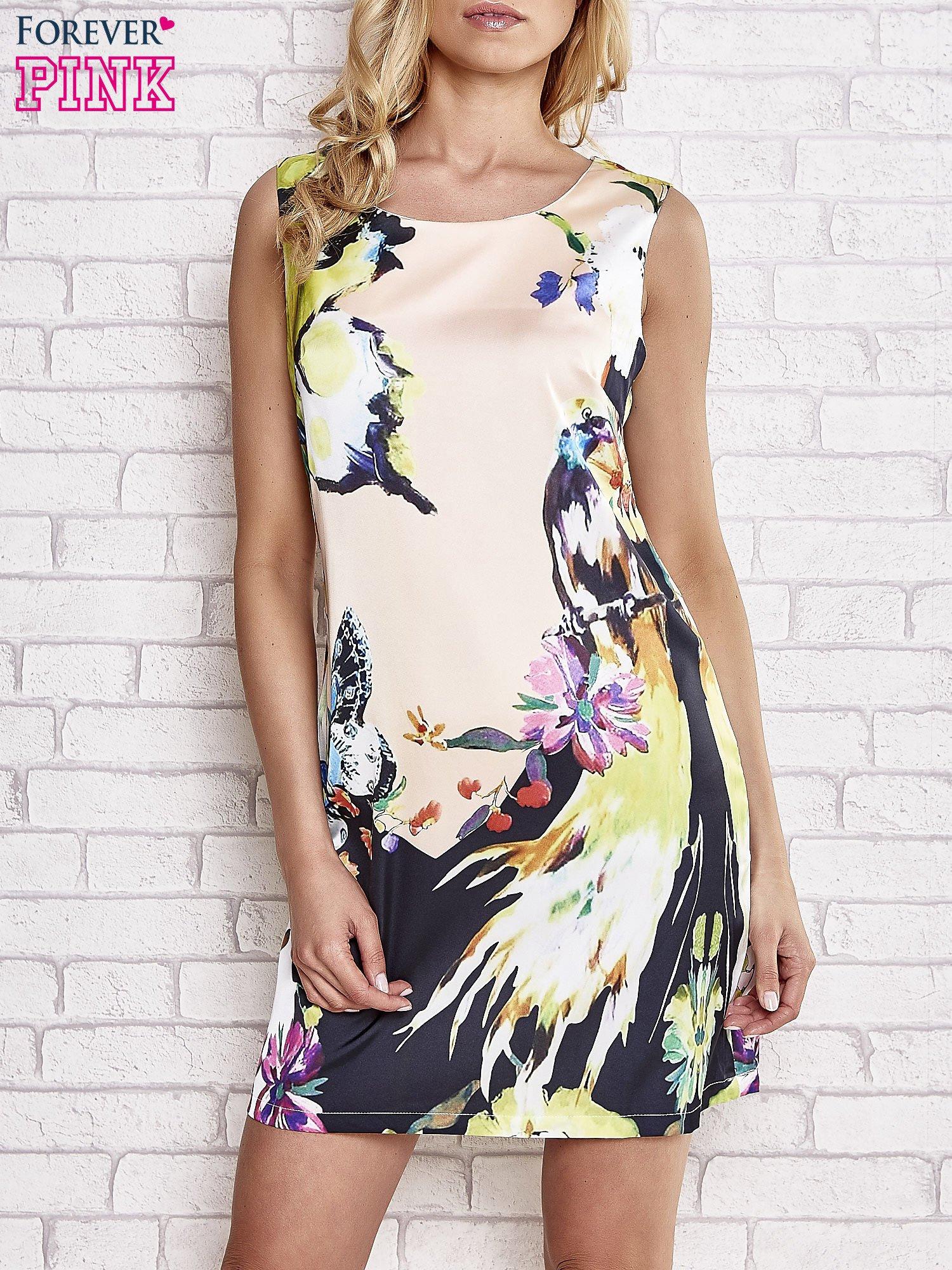 Jasnoróżowa sukienka z malowanym nadrukiem                                  zdj.                                  1