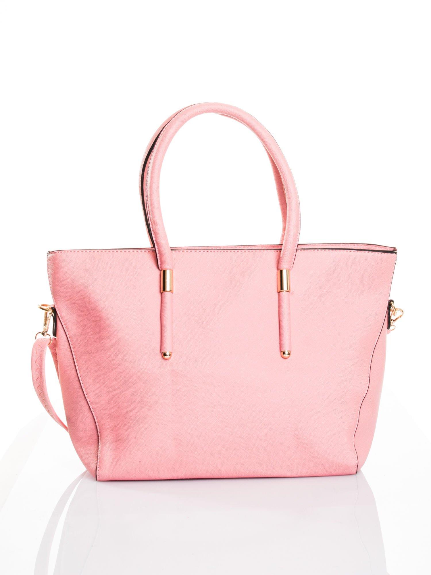 Jasnoróżowa torba shopper efekt saffiano                                  zdj.                                  1