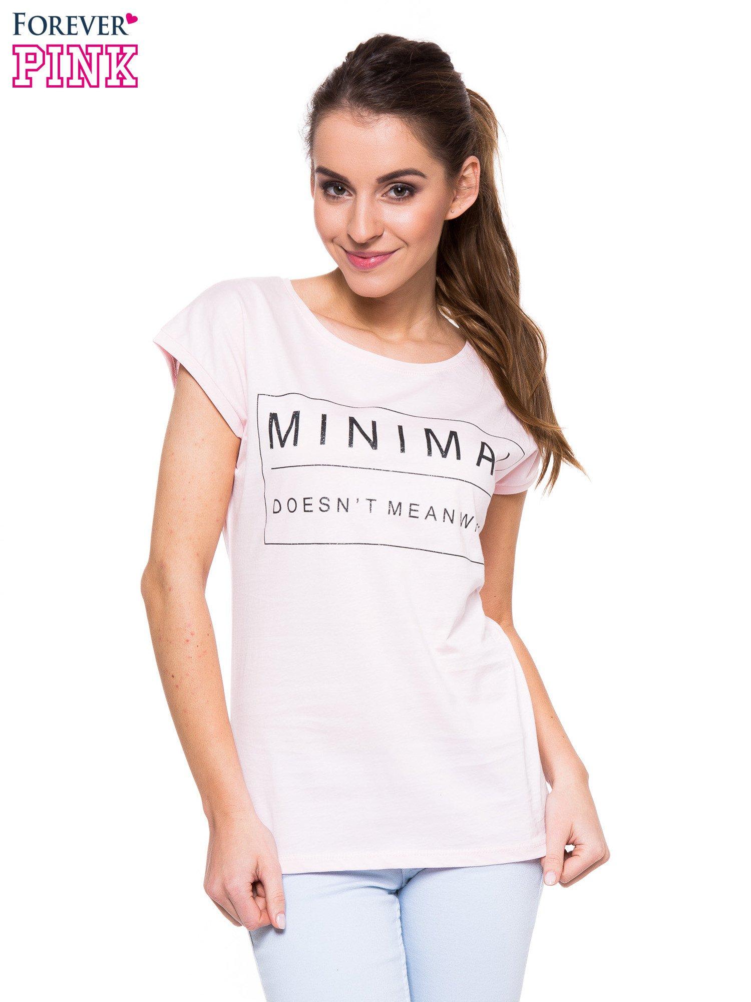 Jasnoróżowy t-shirt z nadrukiem w stylu minimalistycznym                                  zdj.                                  1