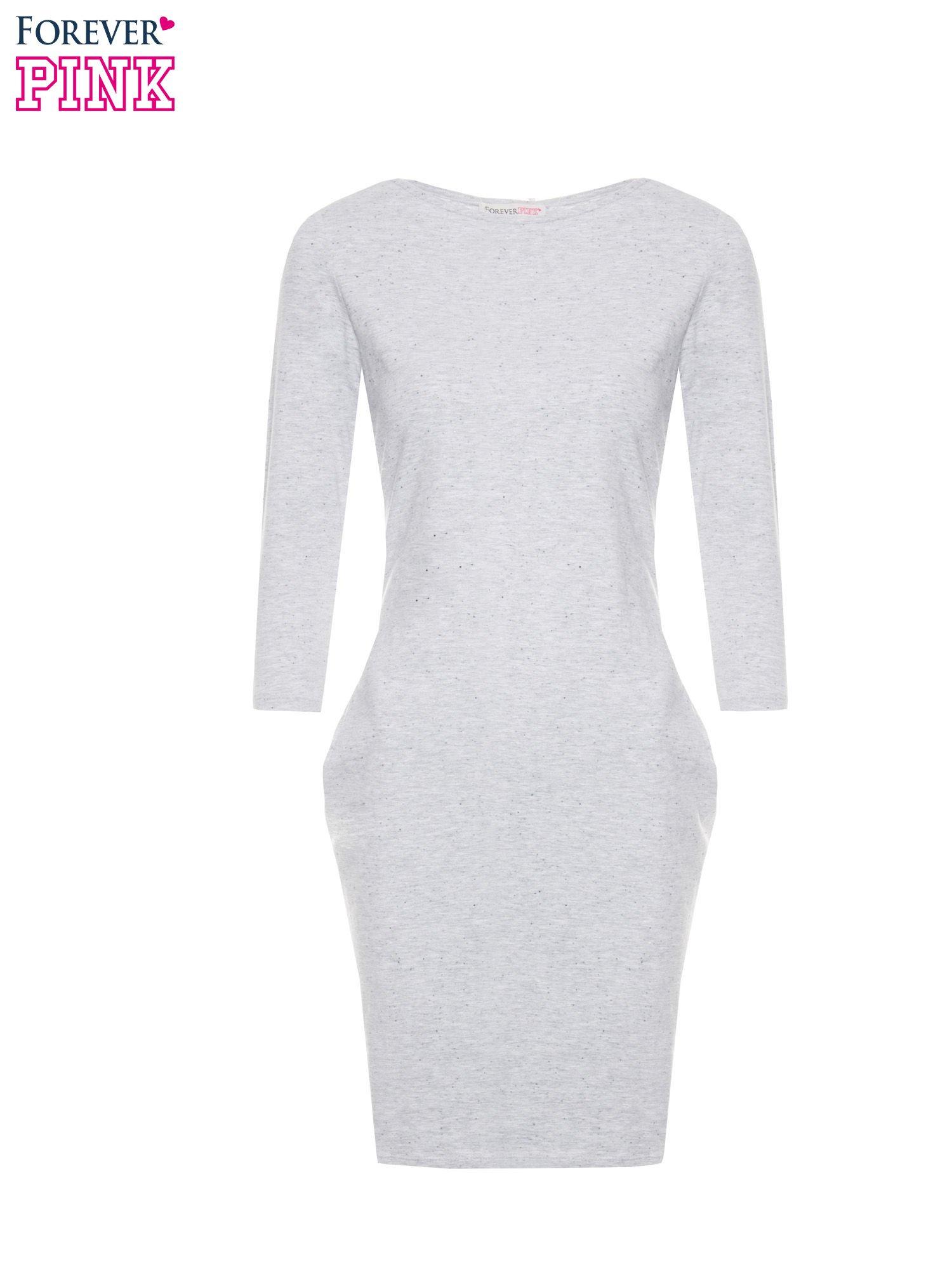 Jasnoszara dresowa sukienka z kieszeniami po bokach                                  zdj.                                  5