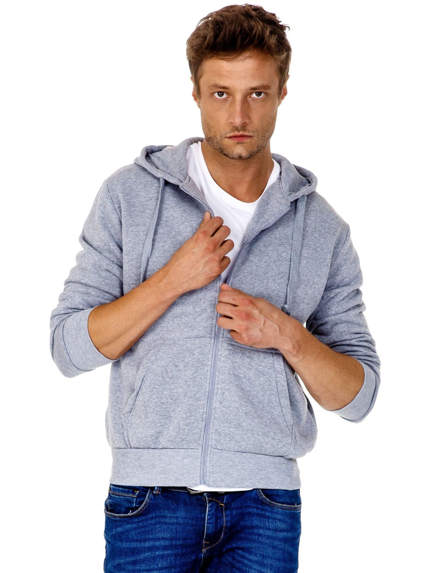 Jasnoszara gruba bluza męska z kapturem i kieszeniami                                  zdj.                                  2
