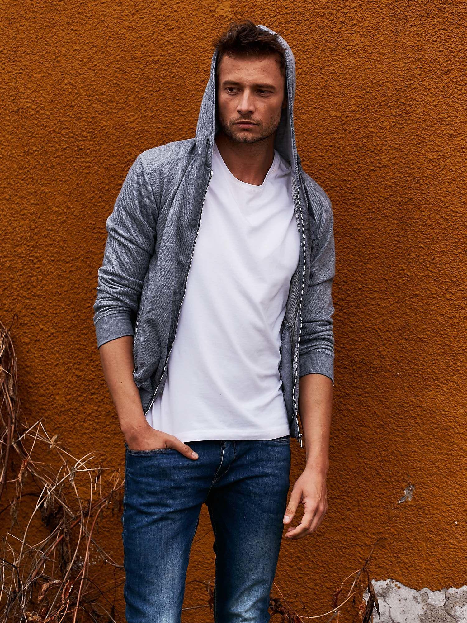 Jasnoszara melanżowa bluza męska z zasuwanymi kieszeniami                                  zdj.                                  8