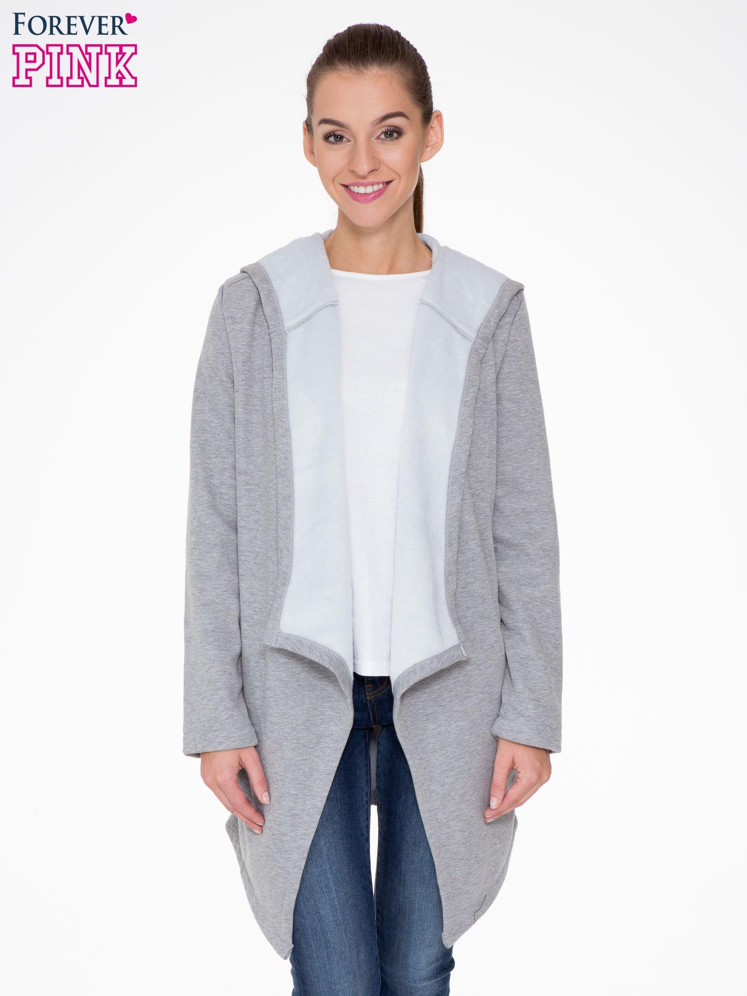 Jasnoszary płaszcz dresowy z asymetrycznymi bokami                                  zdj.                                  1