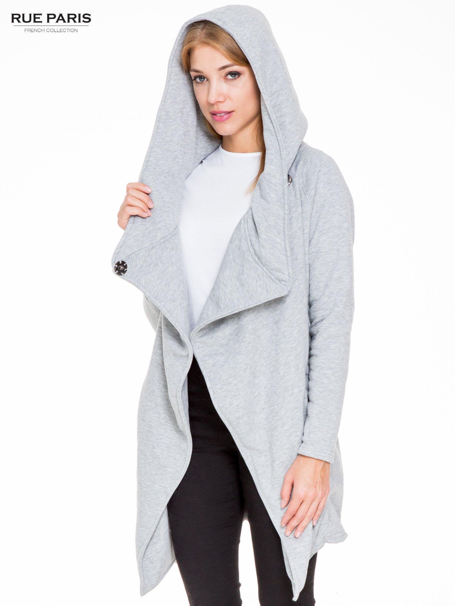 Jasnoszary płaszcz dresowy z kapturem zapinany na napy                                  zdj.                                  5