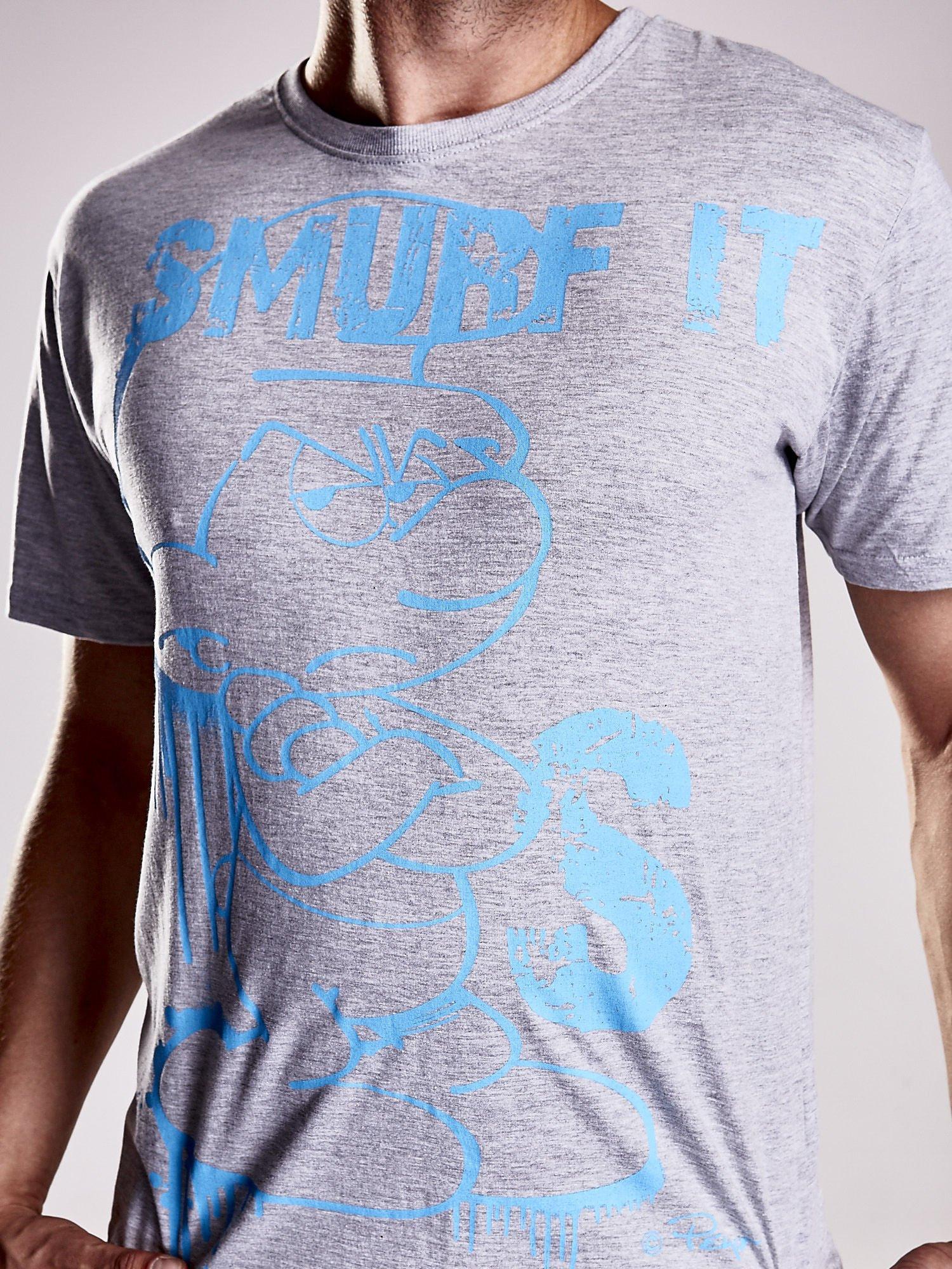 Jasnoszary t-shirt męski SMERFY                                  zdj.                                  6