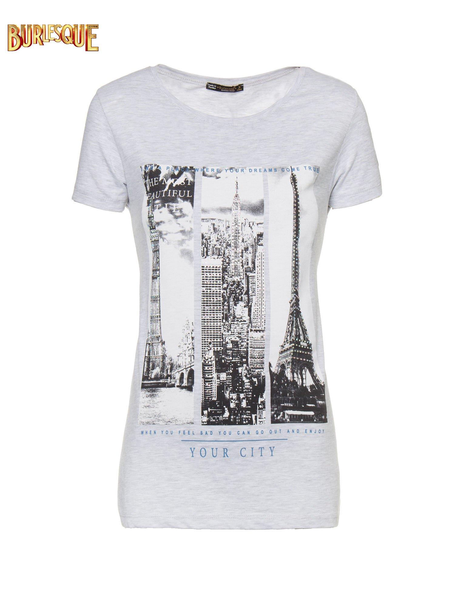 Jasnoszary t-shirt z fotografiami miast                                  zdj.                                  1