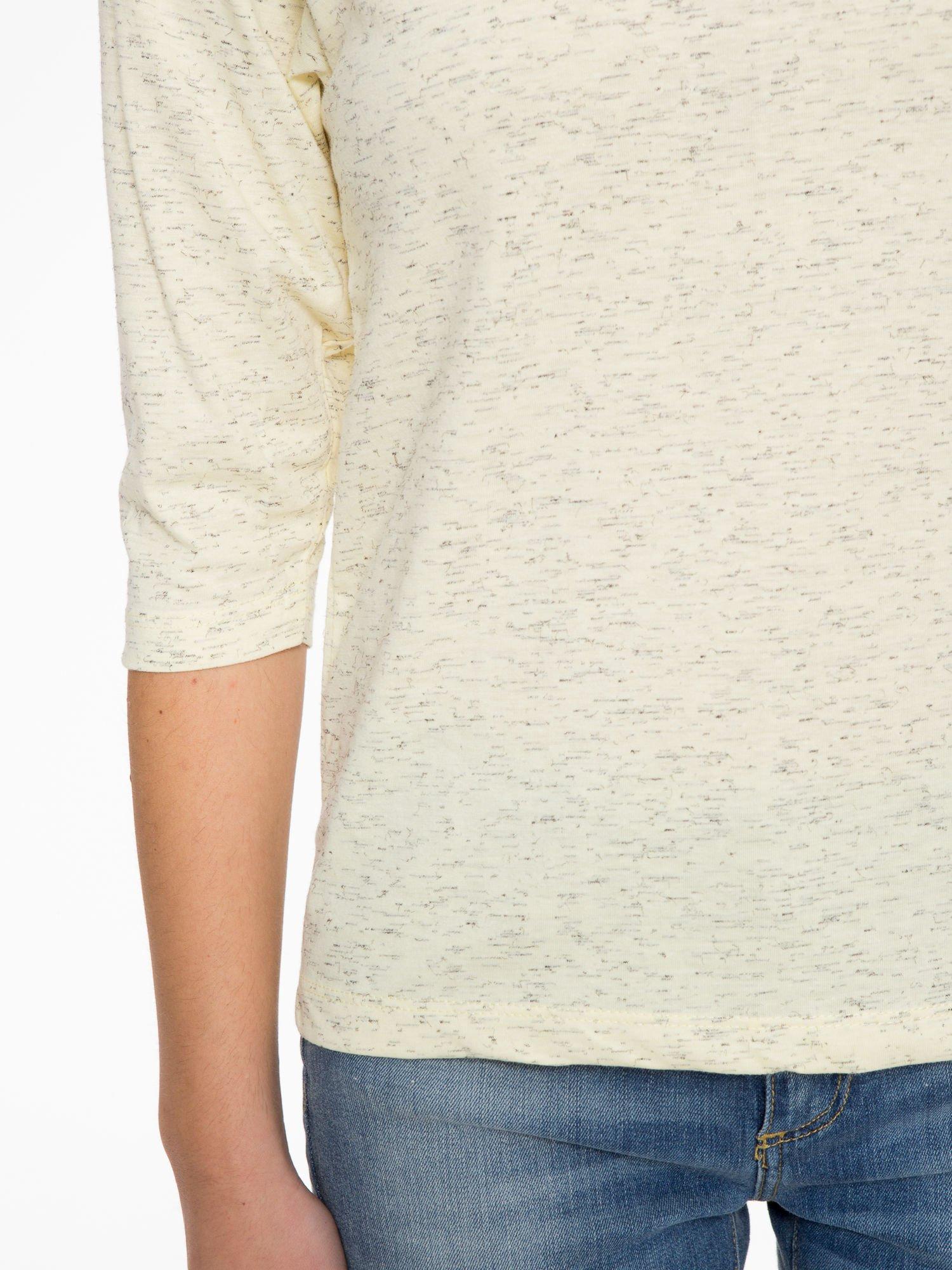 Jasnożółta melanżowa bluzka z rękawami 3/4                                  zdj.                                  6