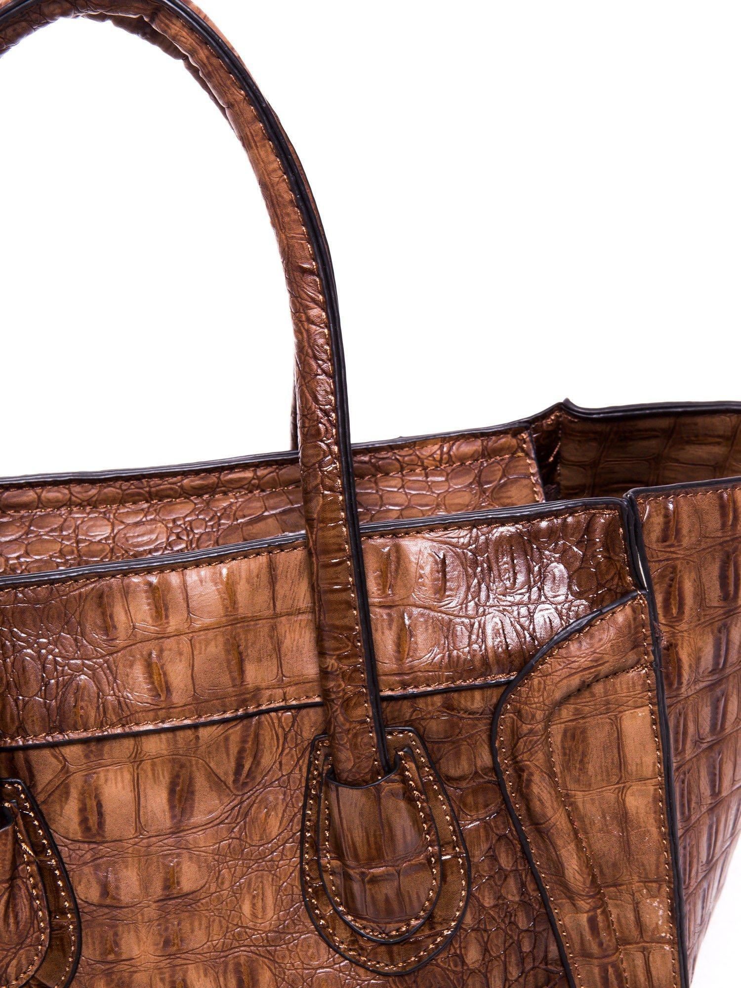 Kawowa torba miejska z efektem skóry węża                                  zdj.                                  7