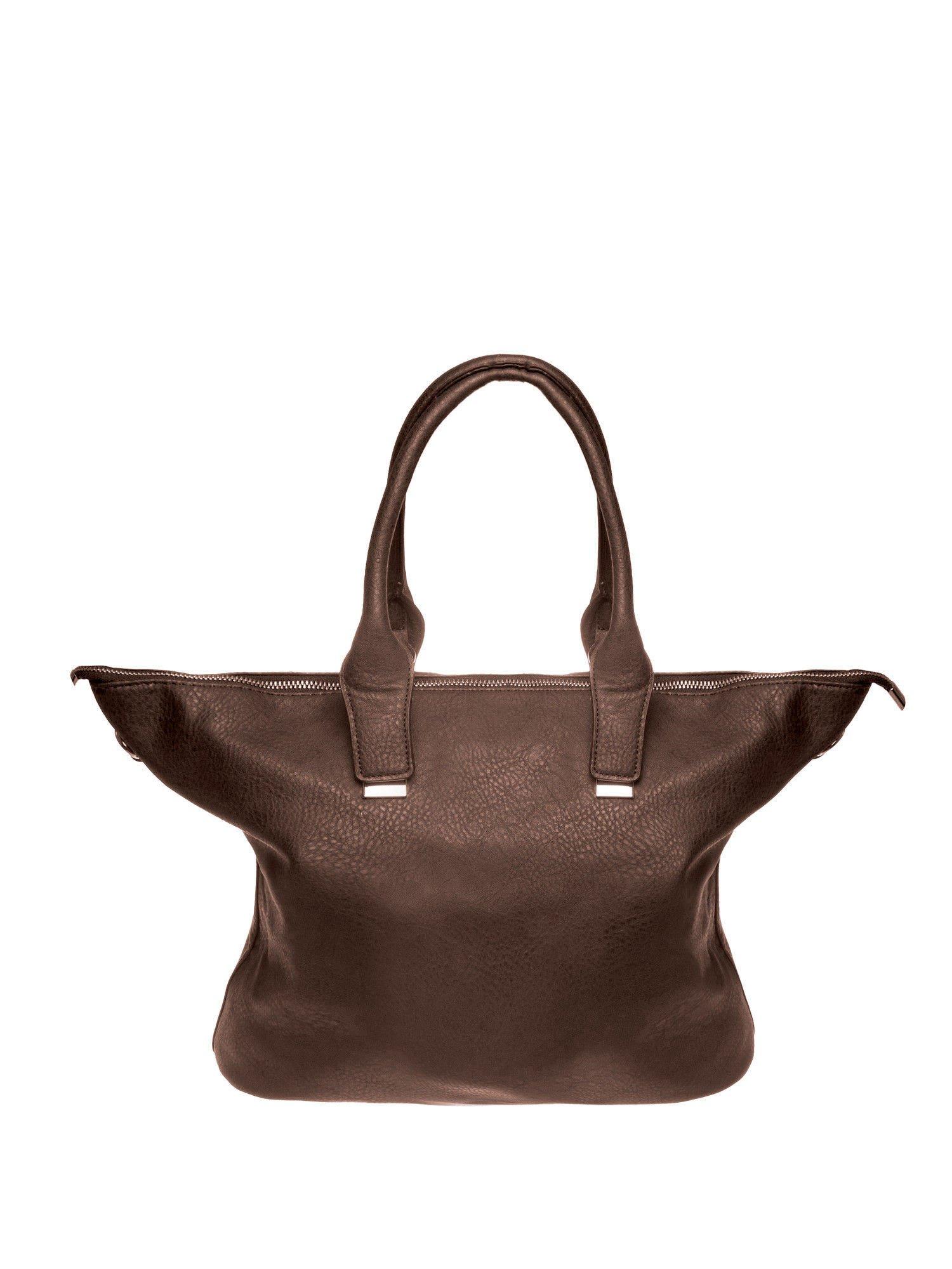 Kawowa torba shopper bag ze złotymi detalami                                  zdj.                                  1