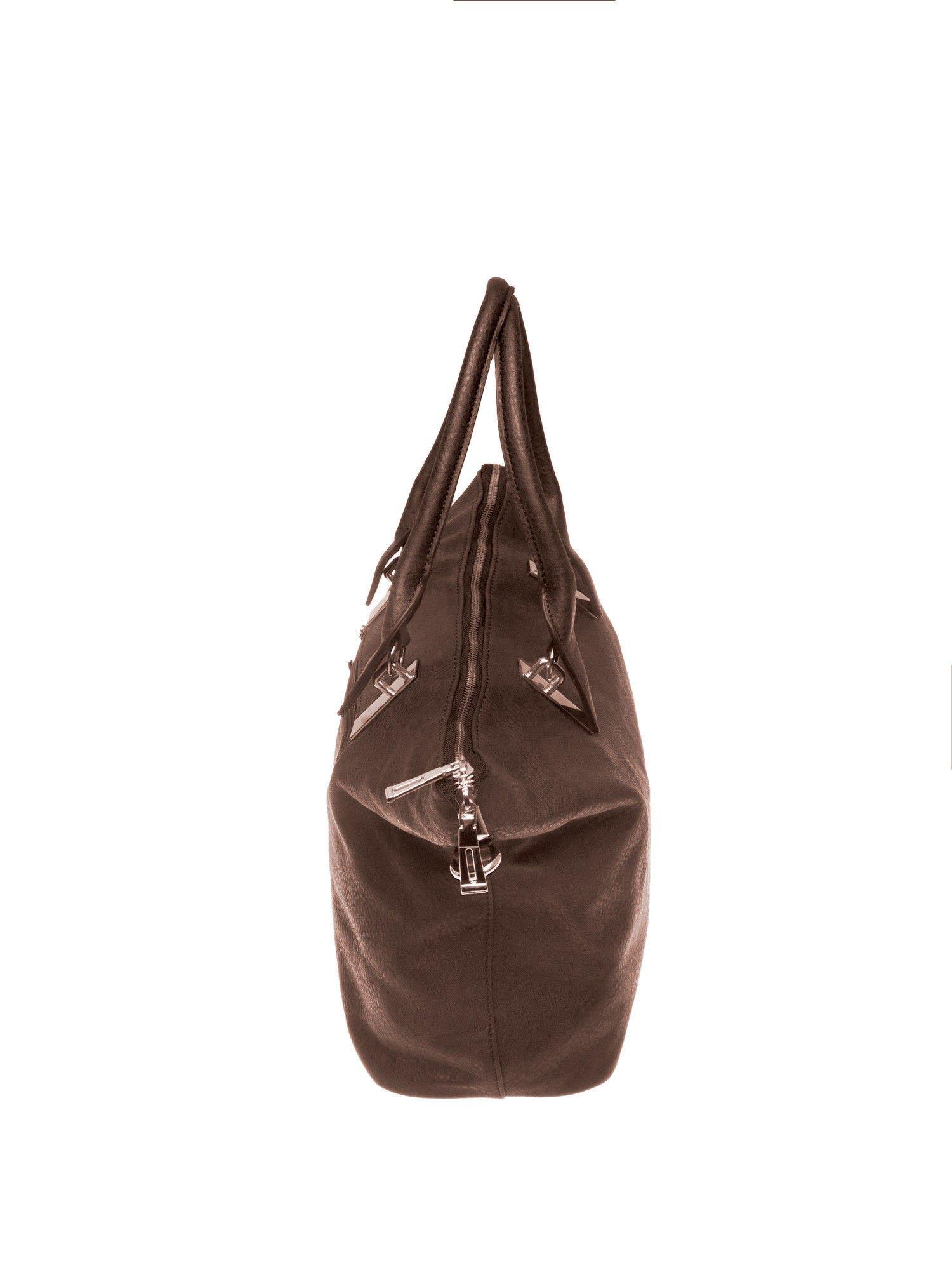Kawowa torba shopper bag ze złotymi detalami                                  zdj.                                  4