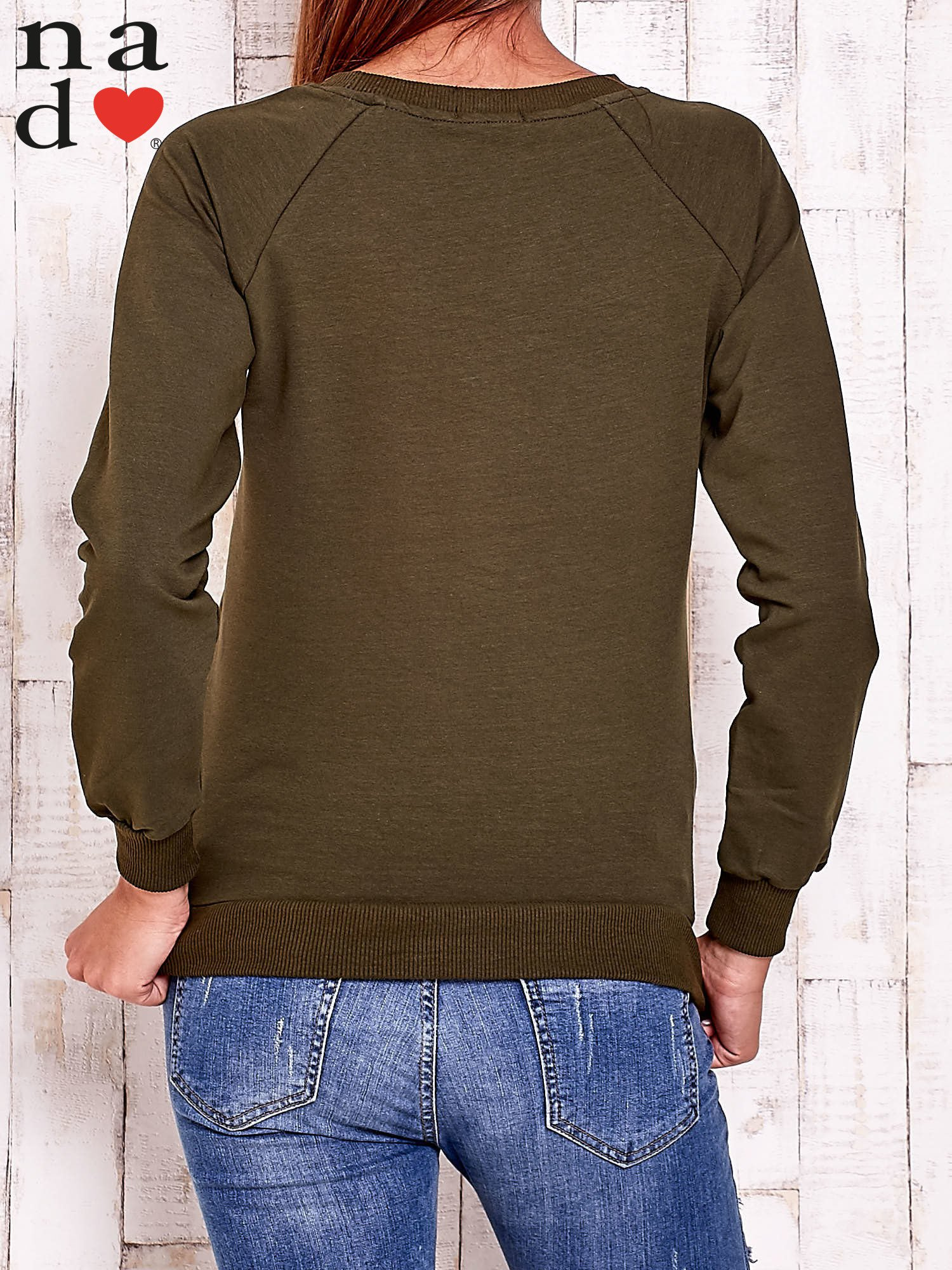 Khaki bluza z napisem BE NICE                                  zdj.                                  4