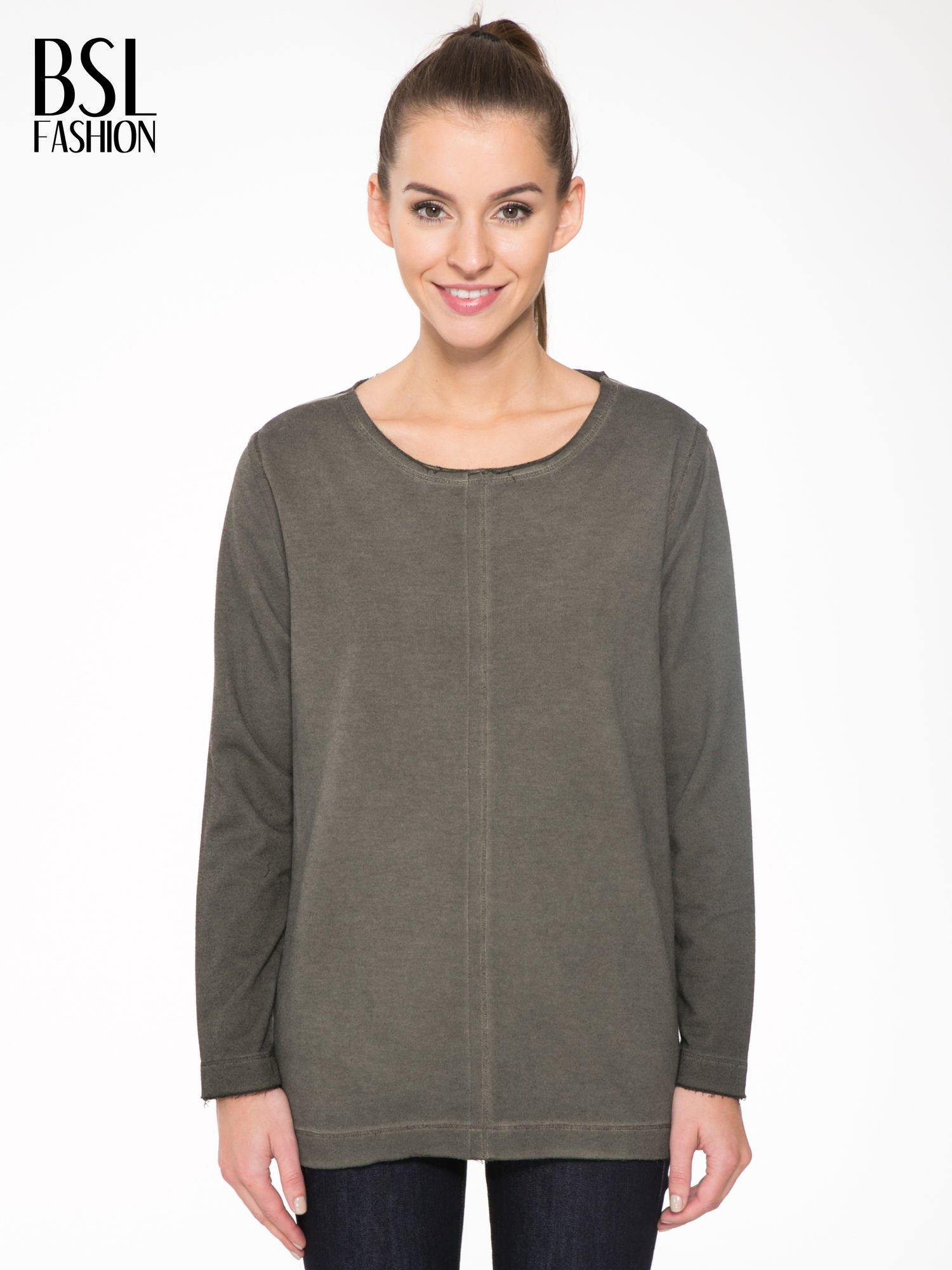 Khaki bluza z surowym wykończeniem i widocznymi szwami                                  zdj.                                  1