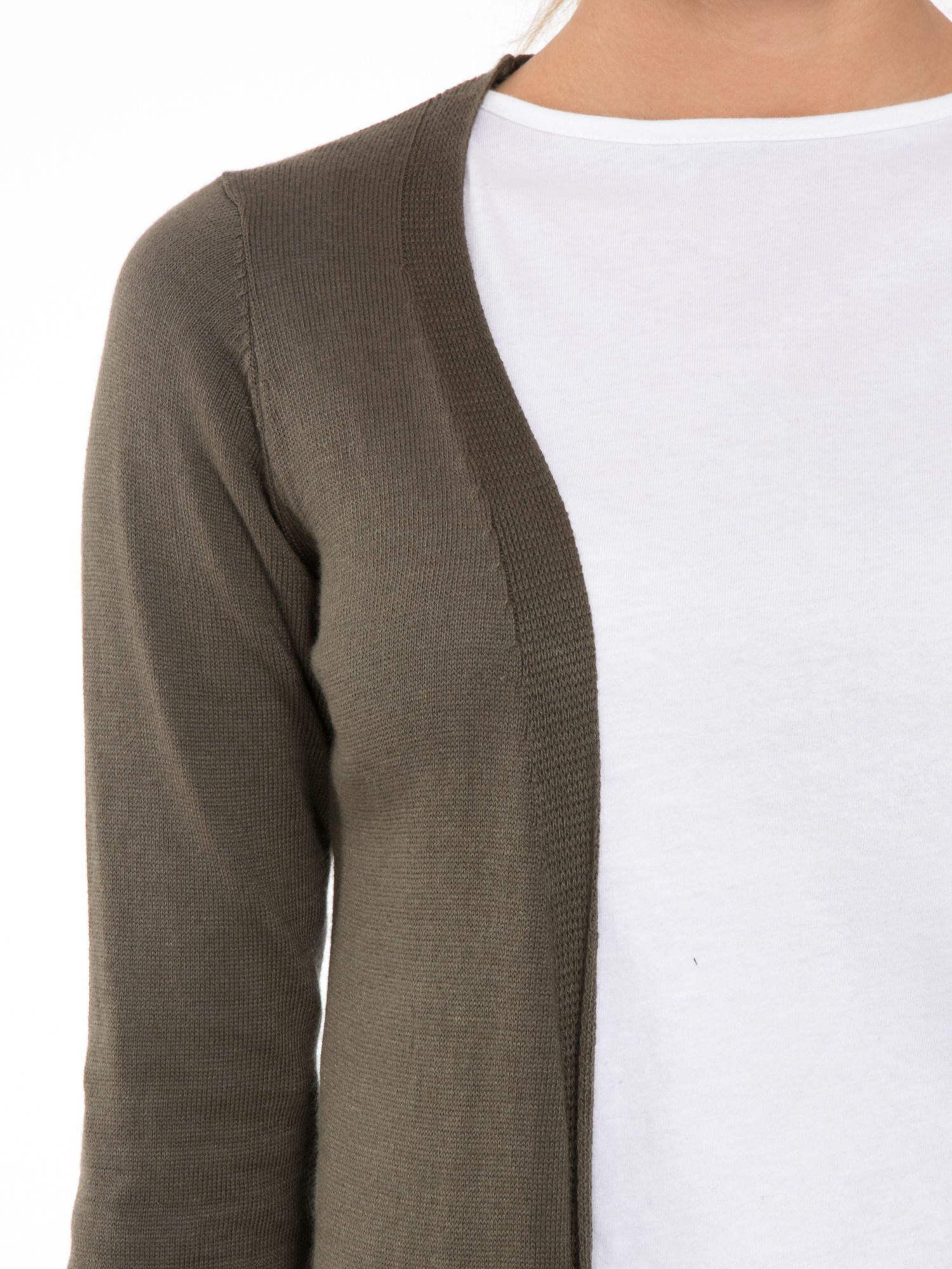 Khaki długi gładki sweter kardigan z kieszeniami                                  zdj.                                  5
