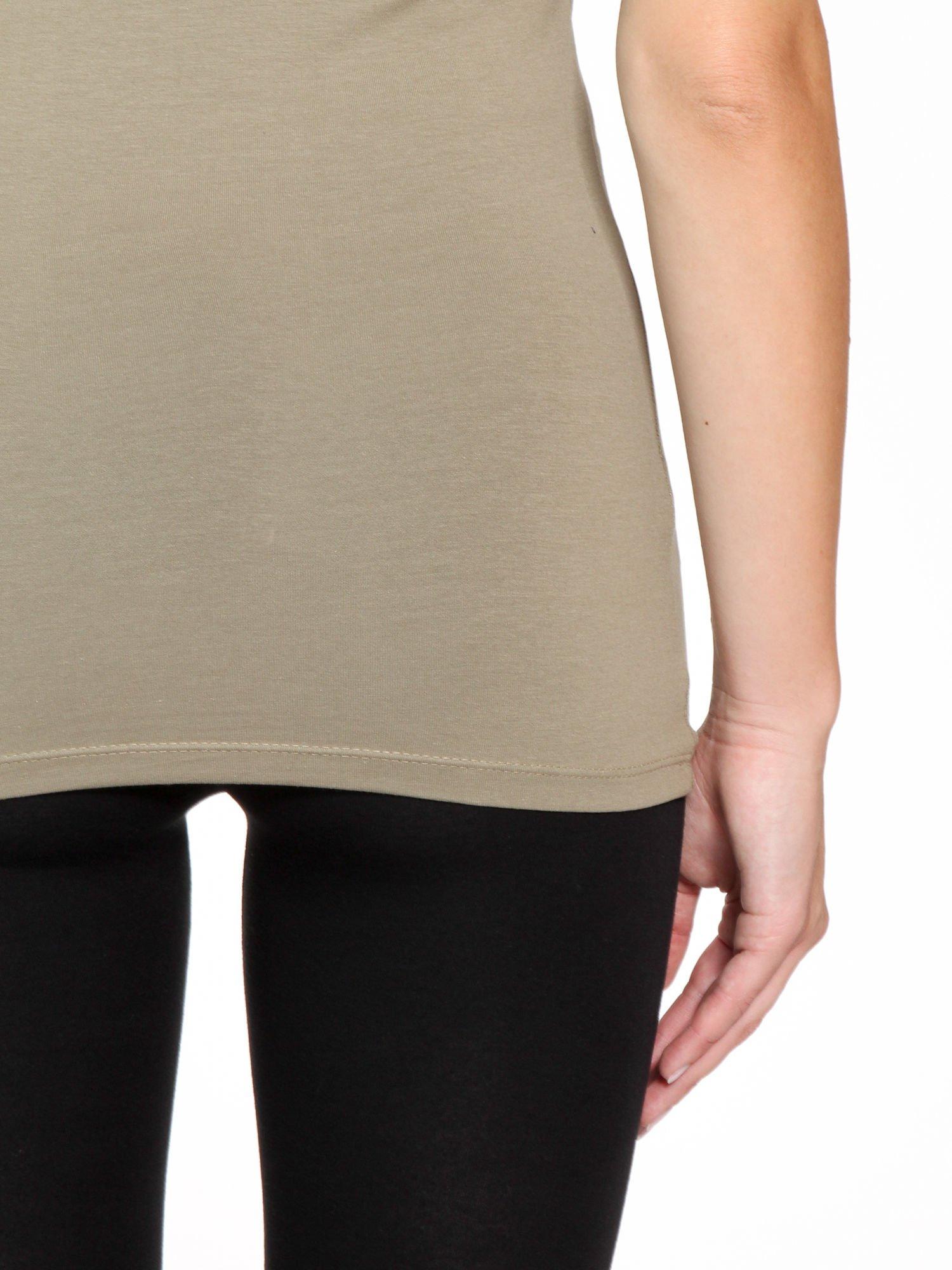 Khaki jednolity top na gładkich ramiączkach                                  zdj.                                  7