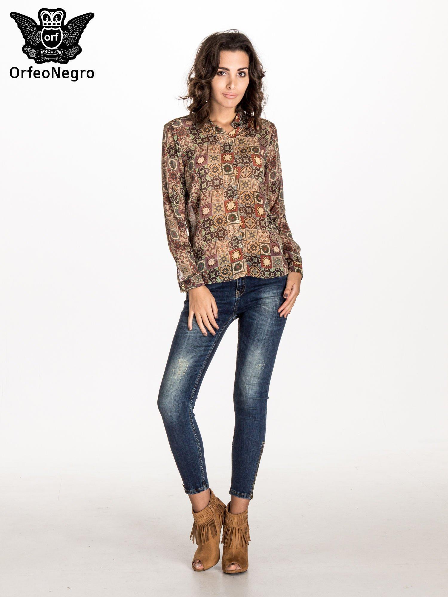 Khaki koszula w kwiatowe ornamenty                                  zdj.                                  5