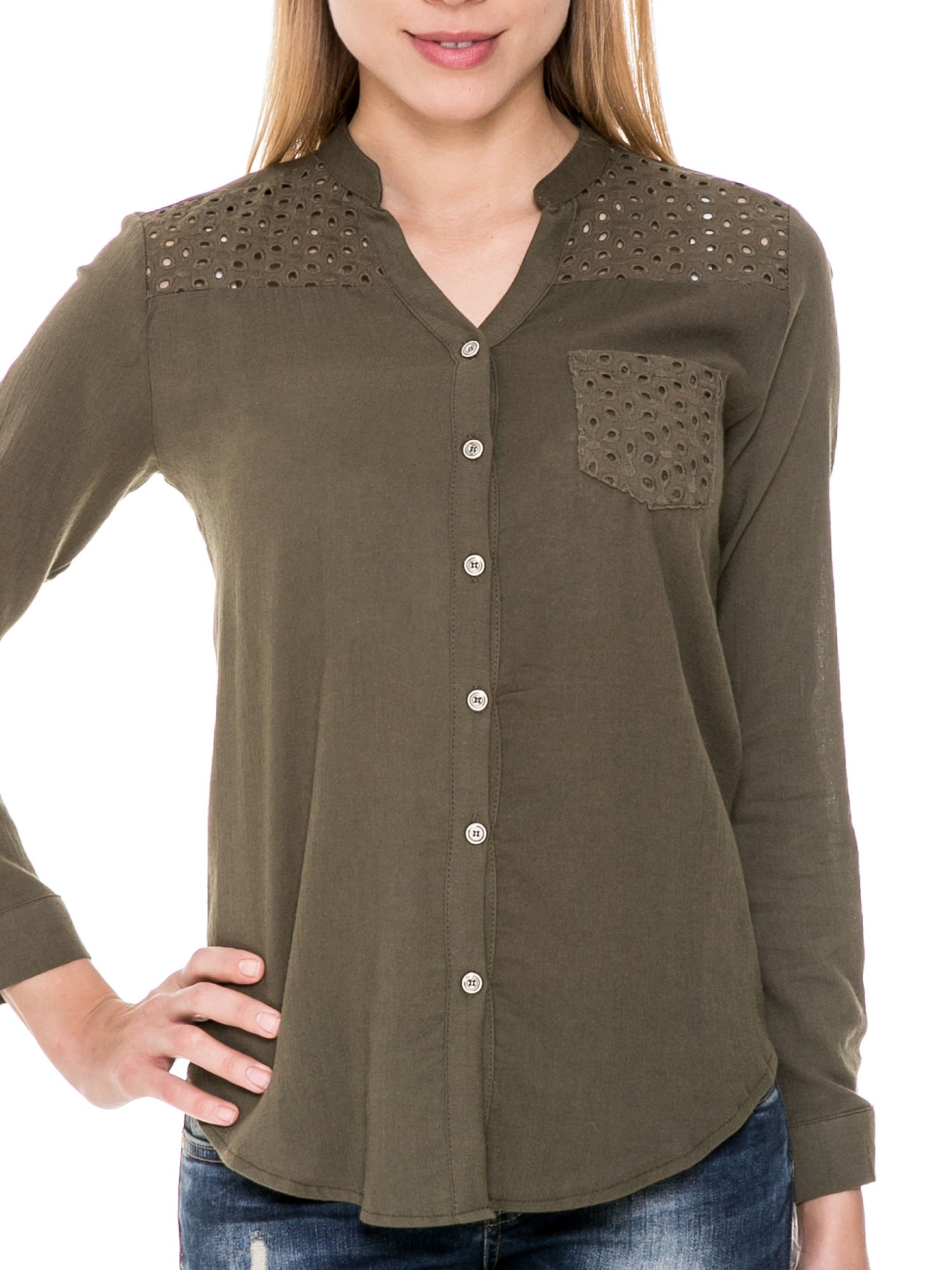Khaki koszula z ażurowaniem na górze i kieszonką                                  zdj.                                  5