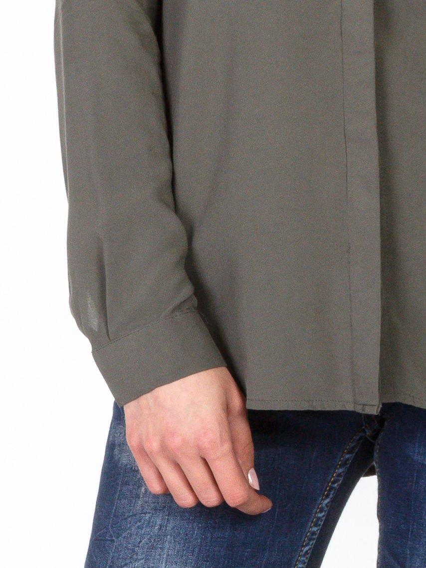 Khaki koszula z kołnierzykiem z łańcuszkami                                   zdj.                                  6