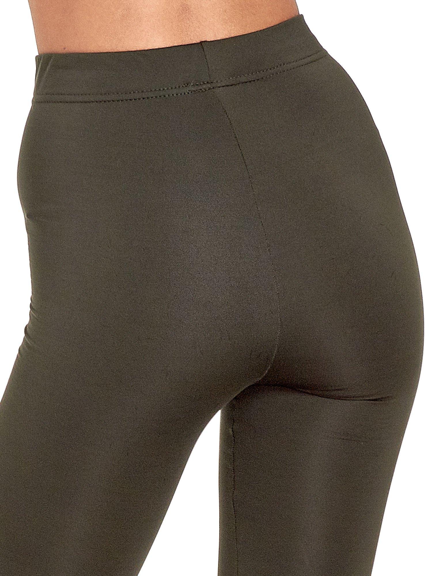 Khaki legginsy basic z lekkim ociepleniem                                  zdj.                                  7