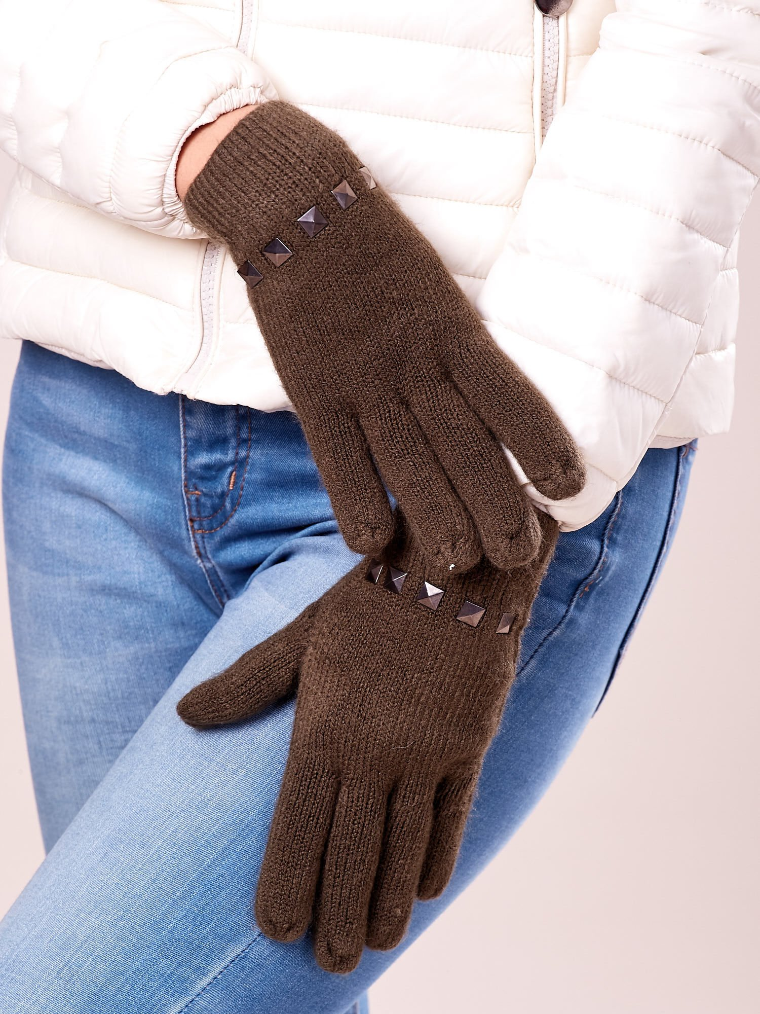 Khaki proste rękawiczki z ćwiekami                                  zdj.                                  2