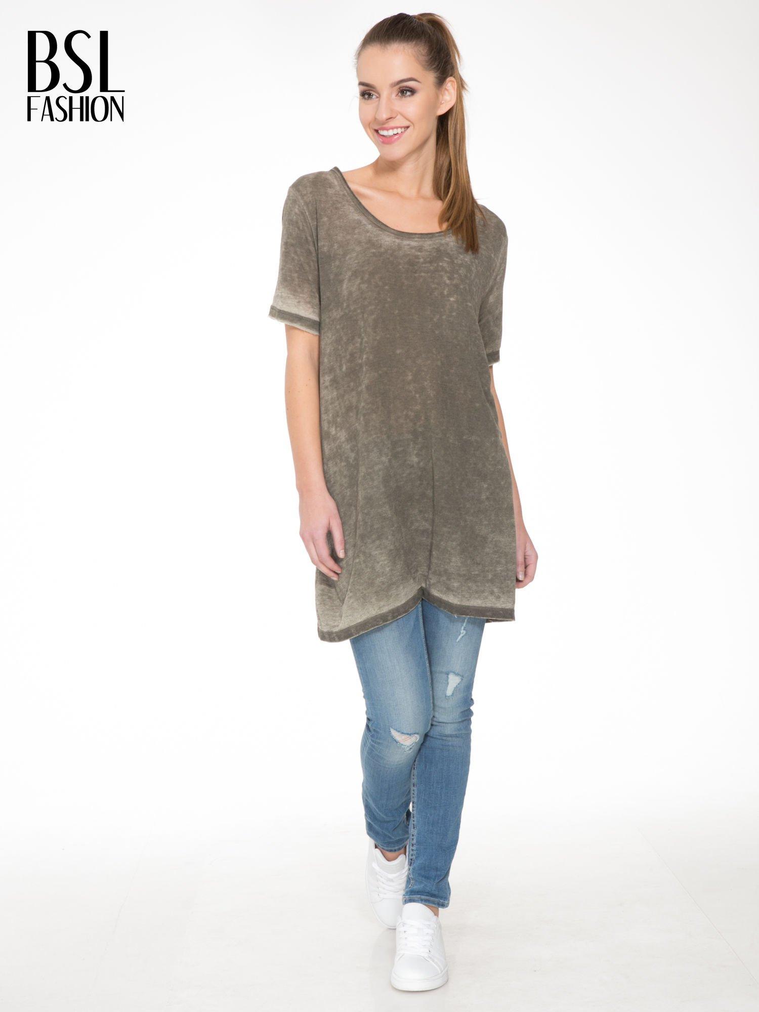 Khaki sukienka typu t-shirt bluzka z efektem dekatyzowania                                  zdj.                                  2