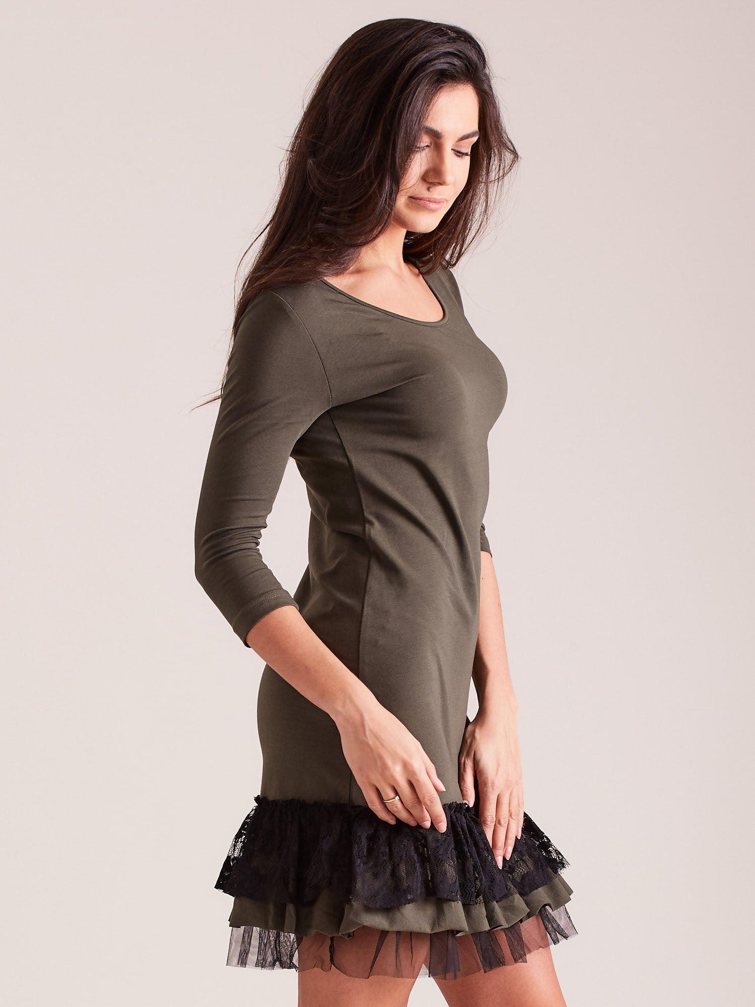 ddaea35f Khaki sukienka z tiulem i koronkową falbaną