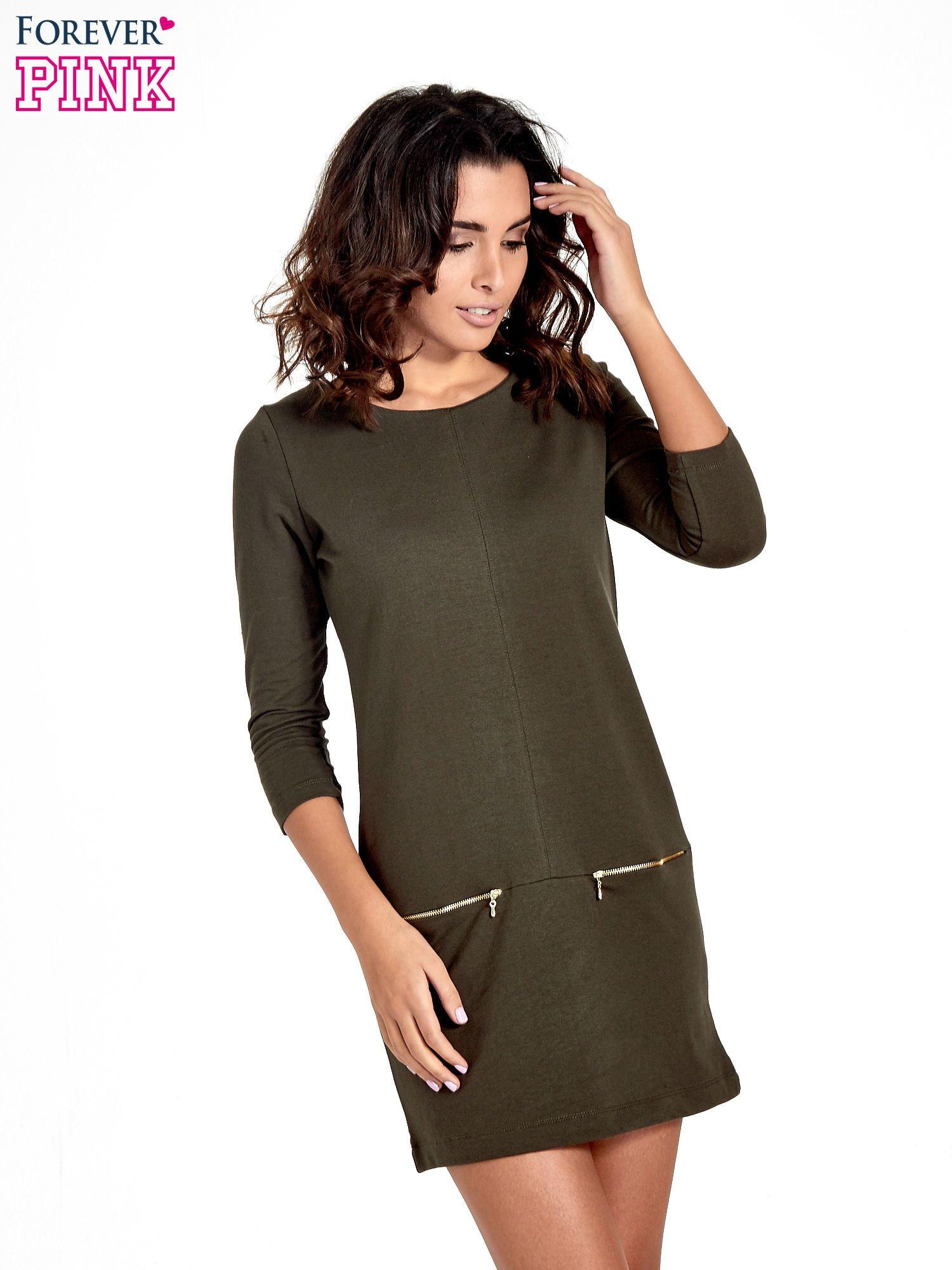 Khaki sukienka ze złotymi suwakami                                  zdj.                                  1