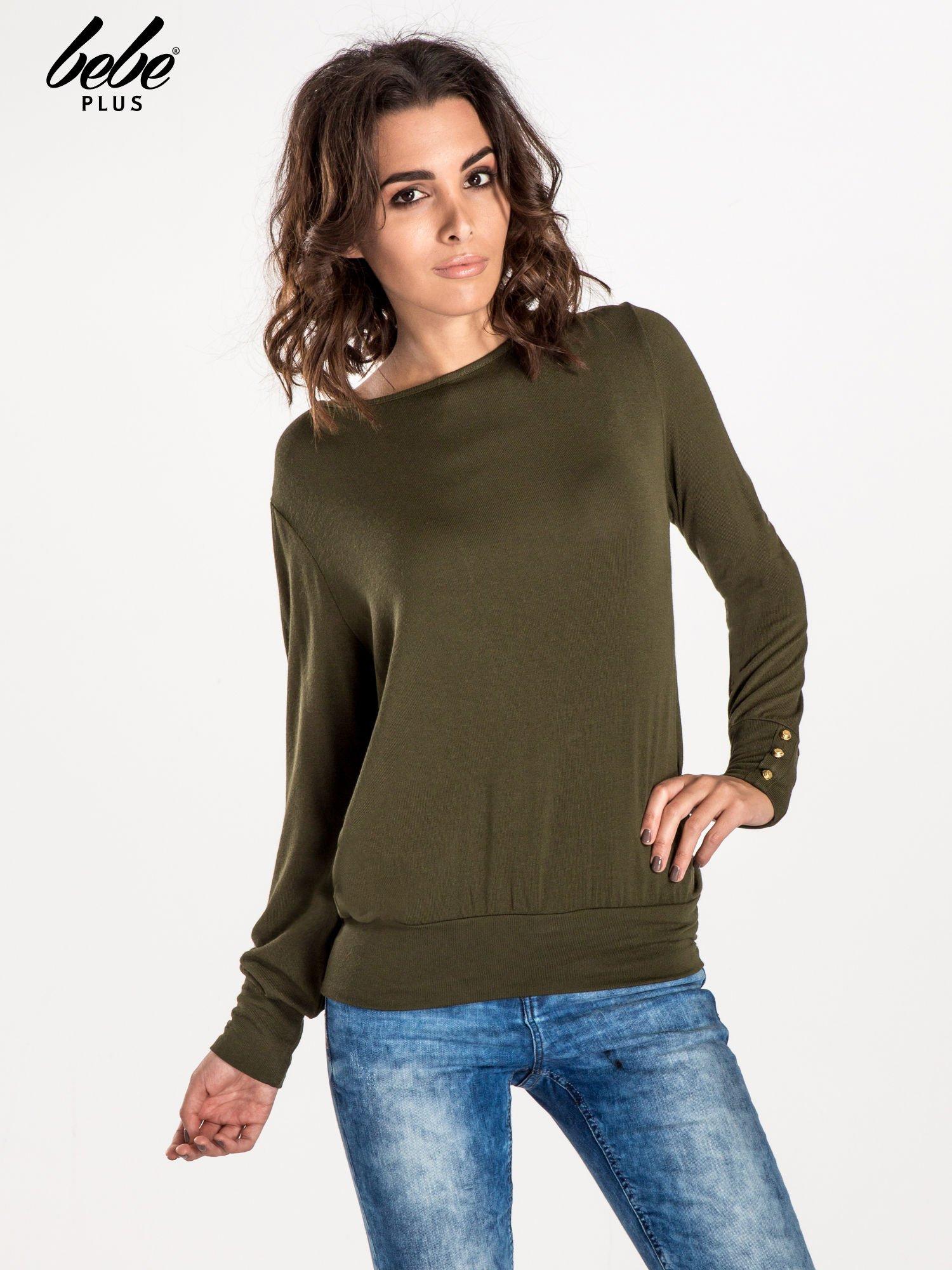 Khaki sweter z kokardą na plecach                                  zdj.                                  1