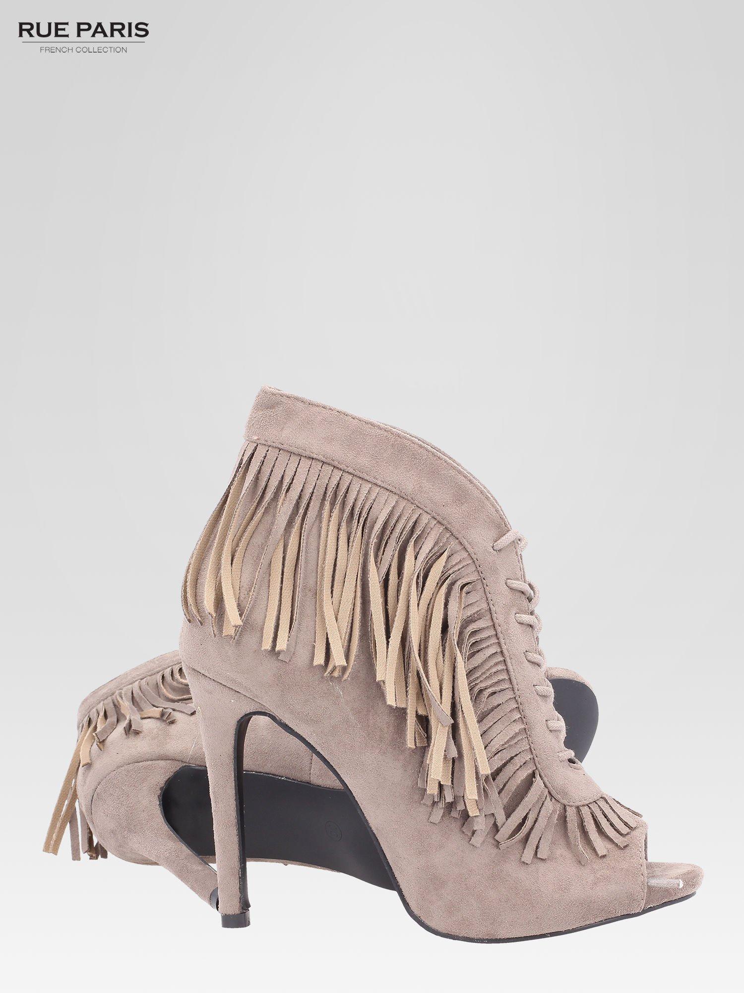 Khaki sznurowane botki faux suede Lea open toe z frędzlami                                  zdj.                                  4