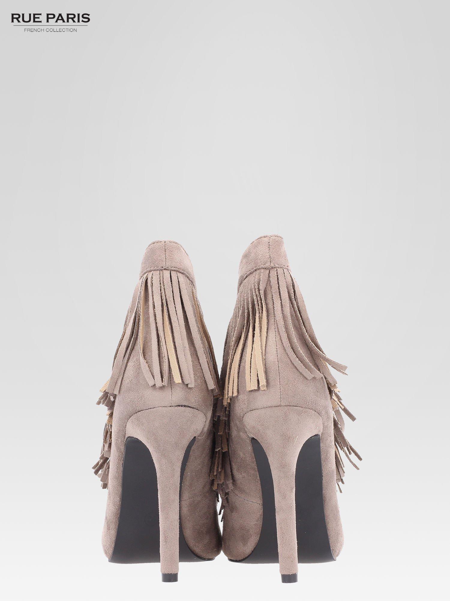 Khaki sznurowane botki faux suede Lea open toe z frędzlami                                  zdj.                                  3