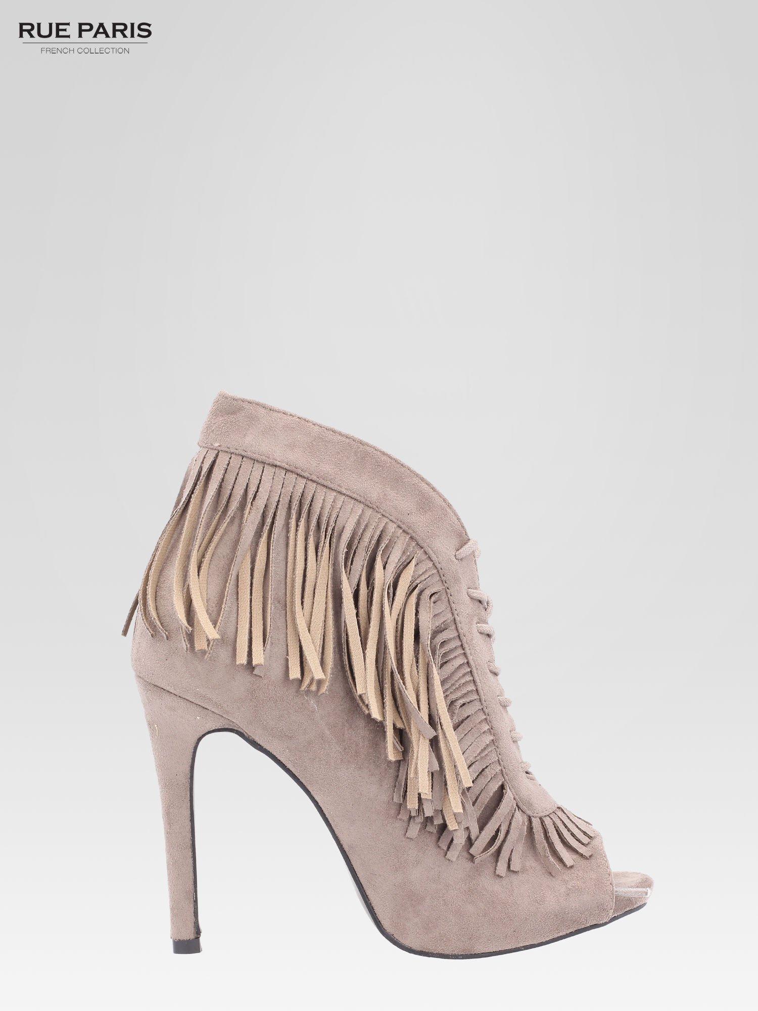Khaki sznurowane botki faux suede Lea open toe z frędzlami                                  zdj.                                  1