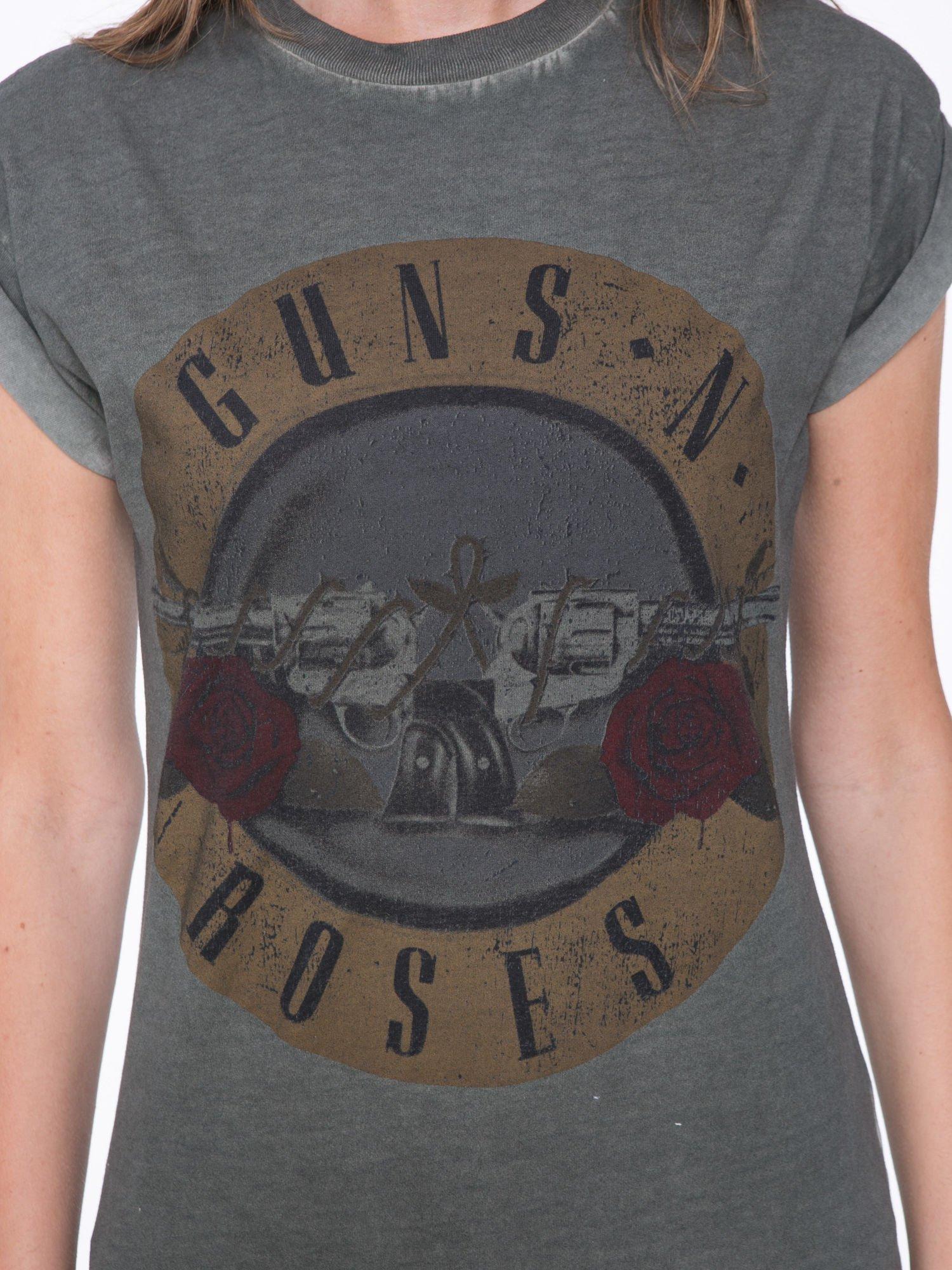 Khaki t-shirt z nadrukiem GUNS N' ROSES                                  zdj.                                  7