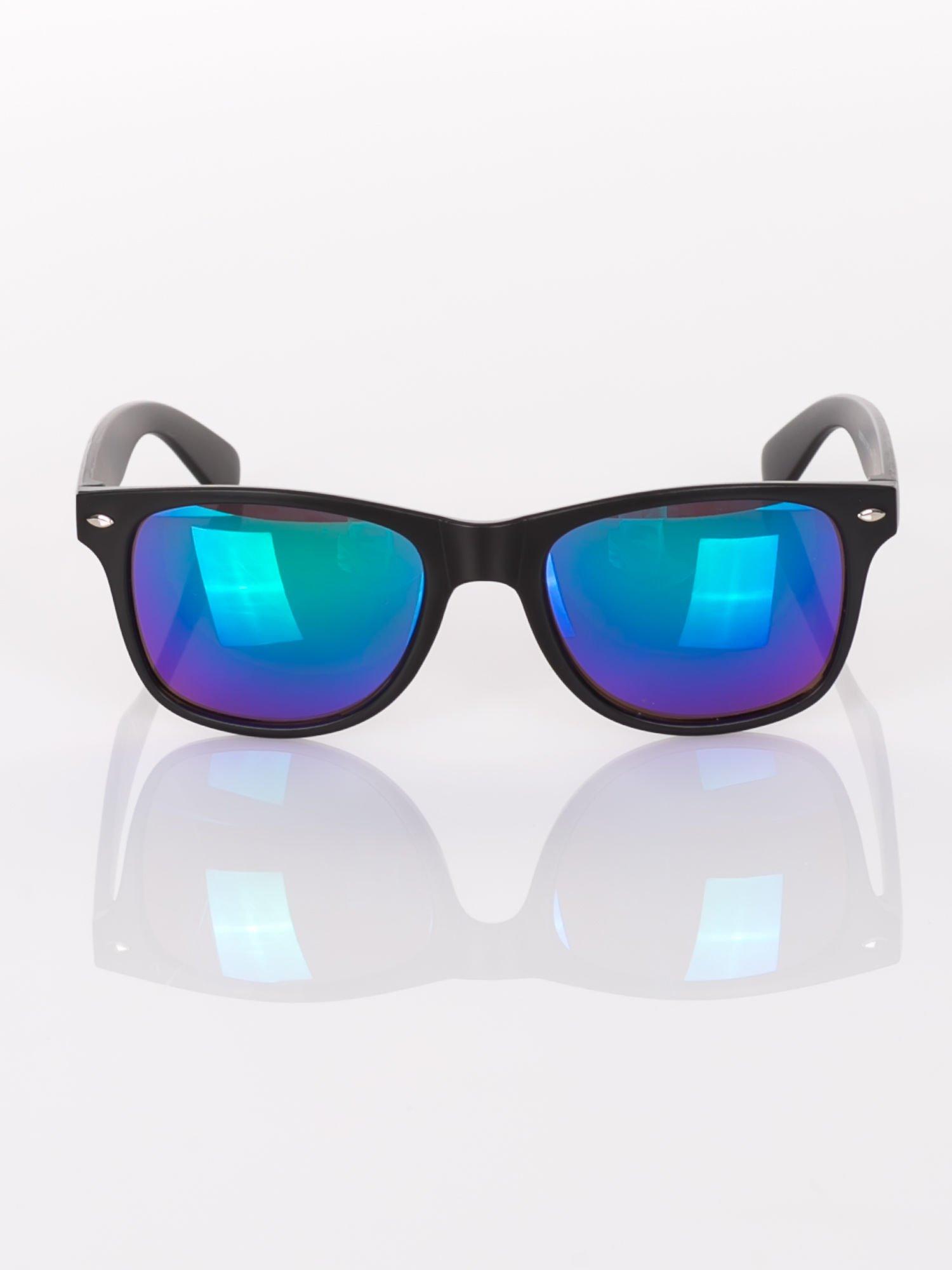 b78ef113db59b1 Klasyczne czarne okulary przeciwsłoneczne WAYFARER lustrzanki niebiesko- zielone ...