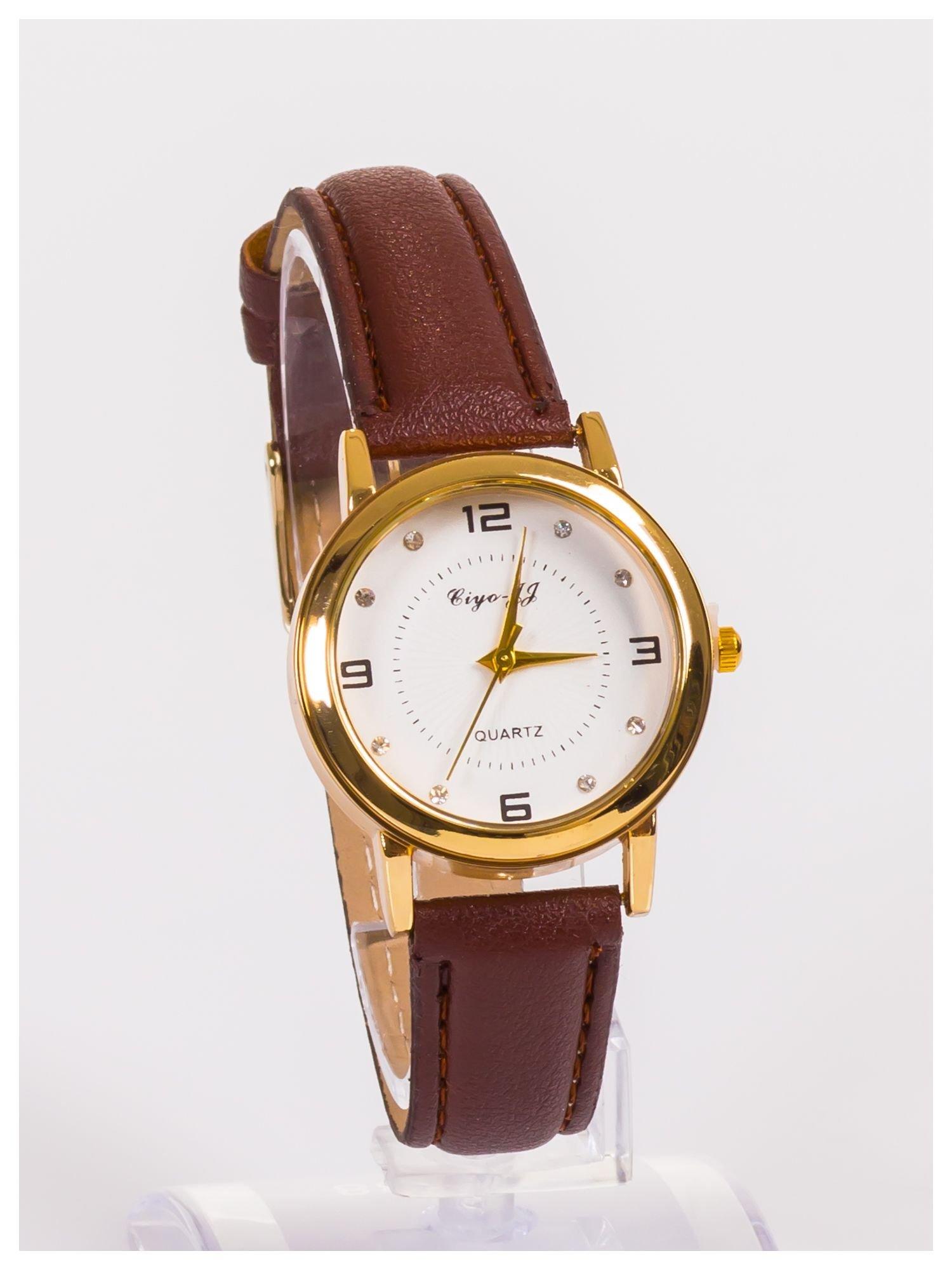Klasyczny damski zegarek z ozdobnymi cyrkoniami na tarczy                                  zdj.                                  3
