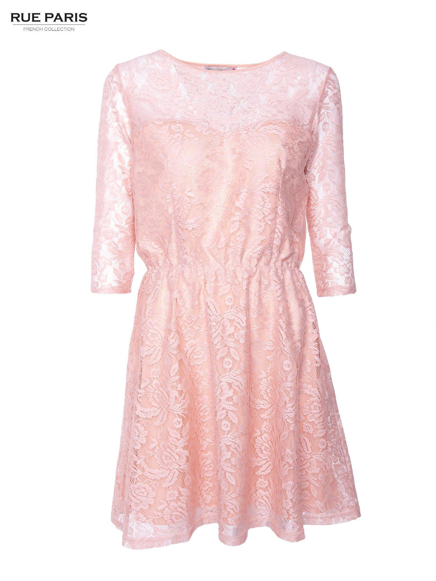 Kloszowana sukienka pokryta na górze przezroczystą koronką w kolorze łososiowym                                  zdj.                                  1