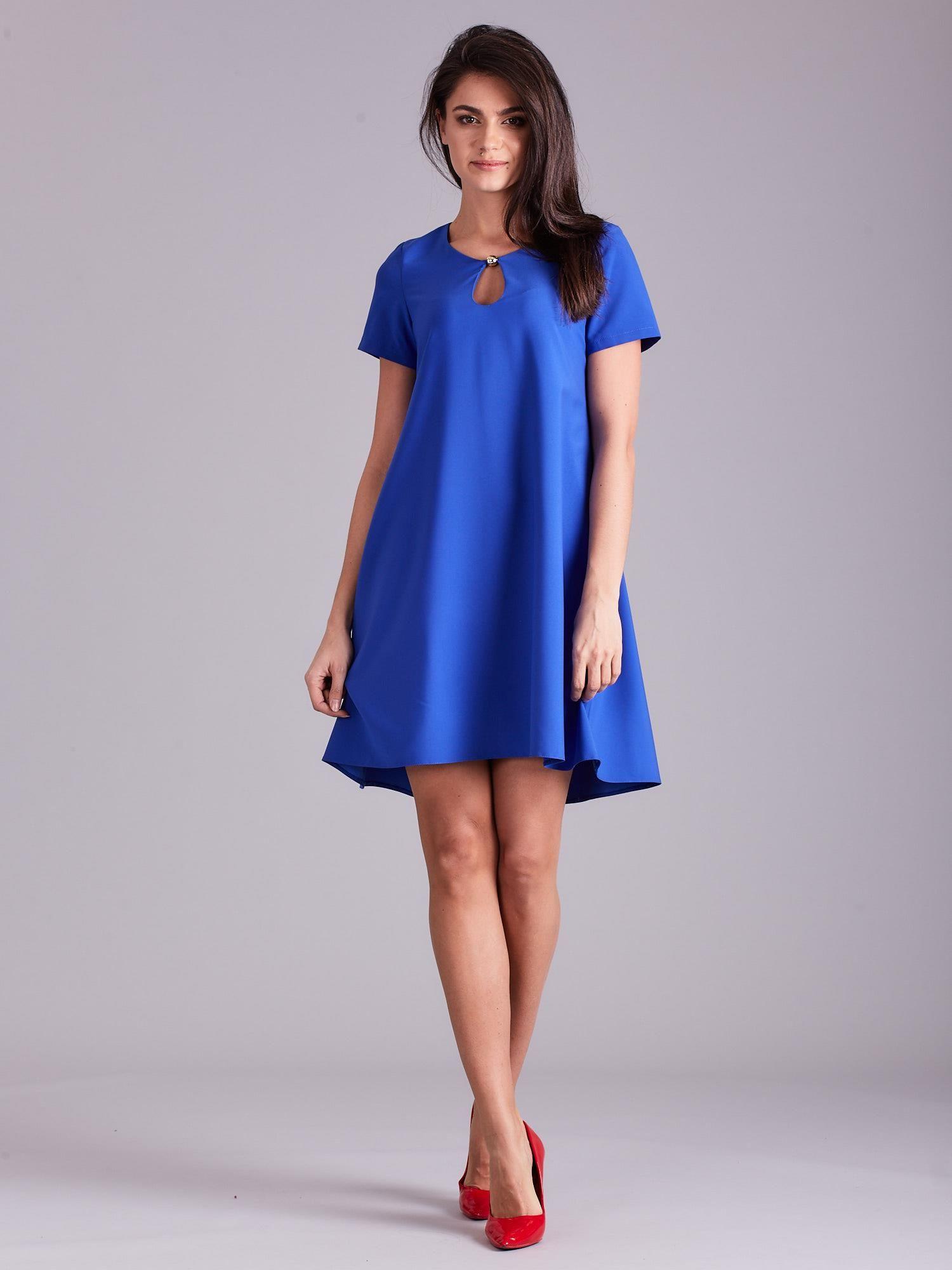 c323f10285 Kobaltowa luźna elegancka sukienka - Sukienka koktajlowa - sklep ...
