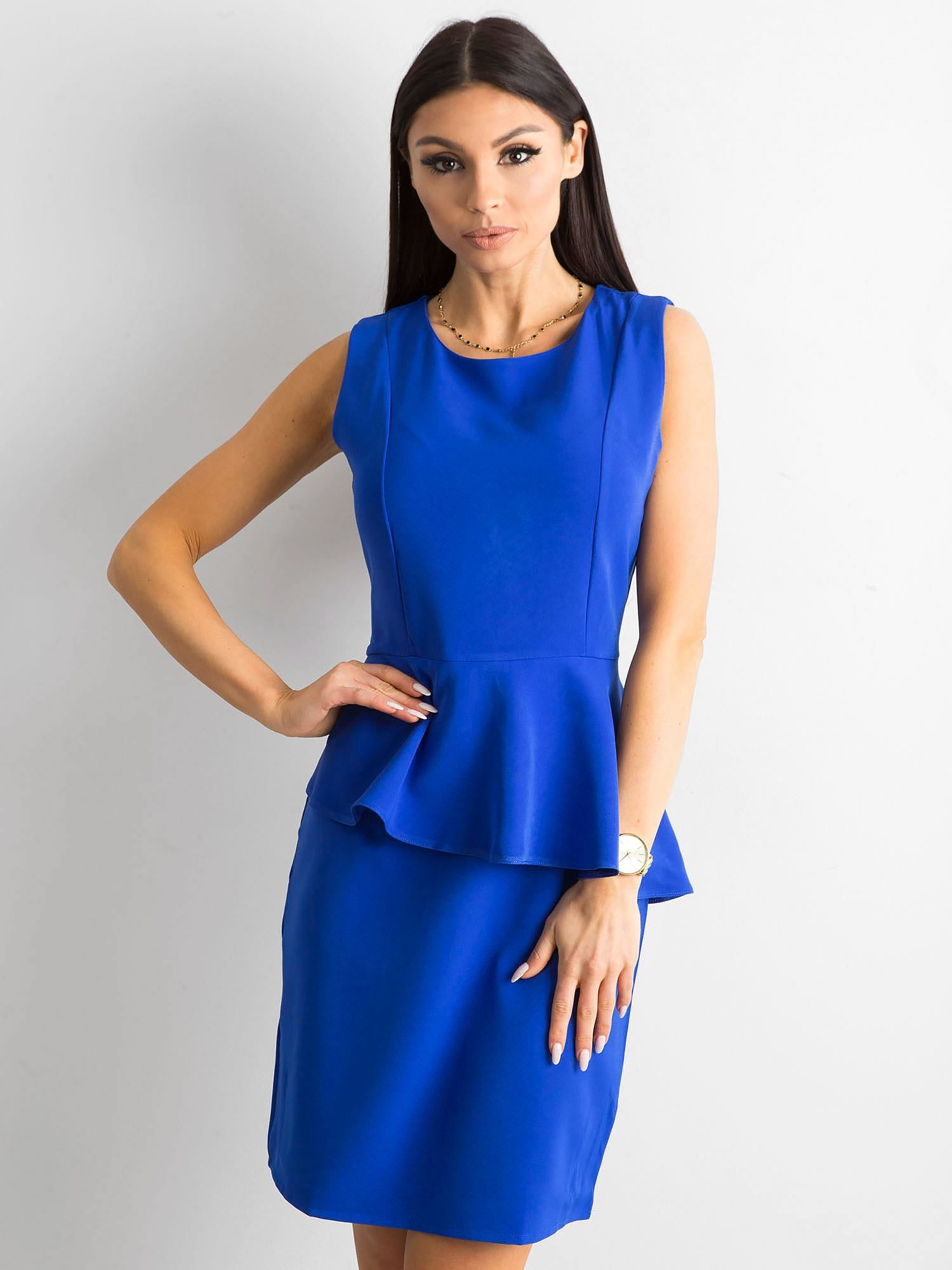 1729e4cbe5a5 Kobaltowa sukienka z baskinką - Sukienka koktajlowa - sklep eButik.pl