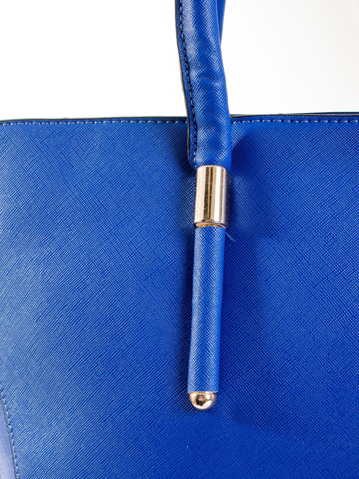 Kobaltowa torba shopper efekt saffiano                                  zdj.                                  7