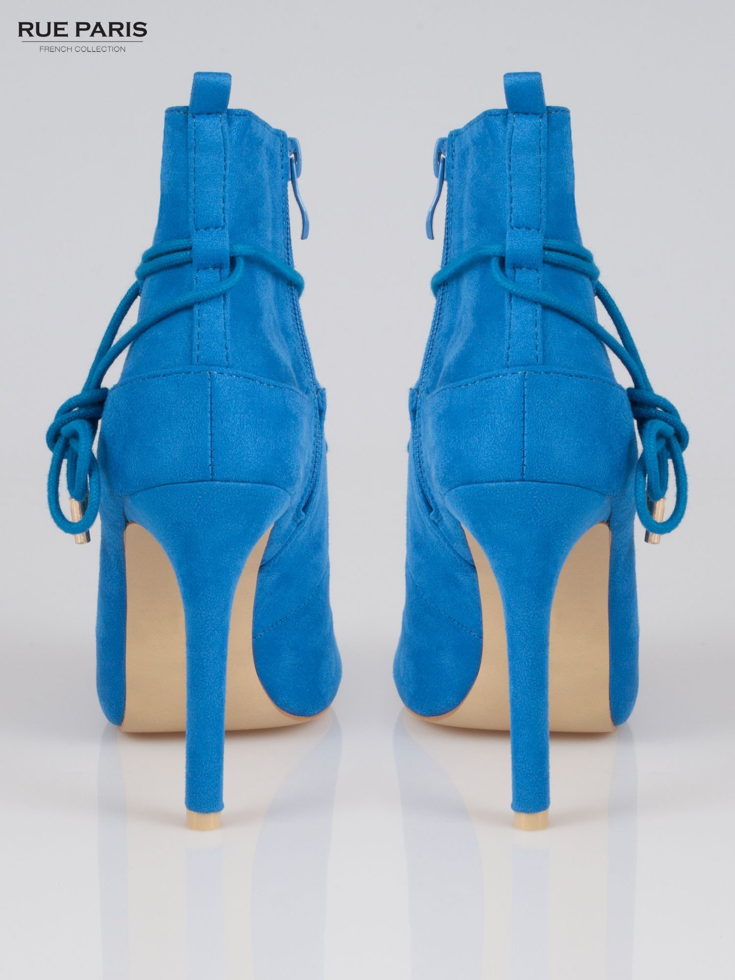 Kobaltowe wiązane botki faux suede Elsa lace up                                  zdj.                                  3