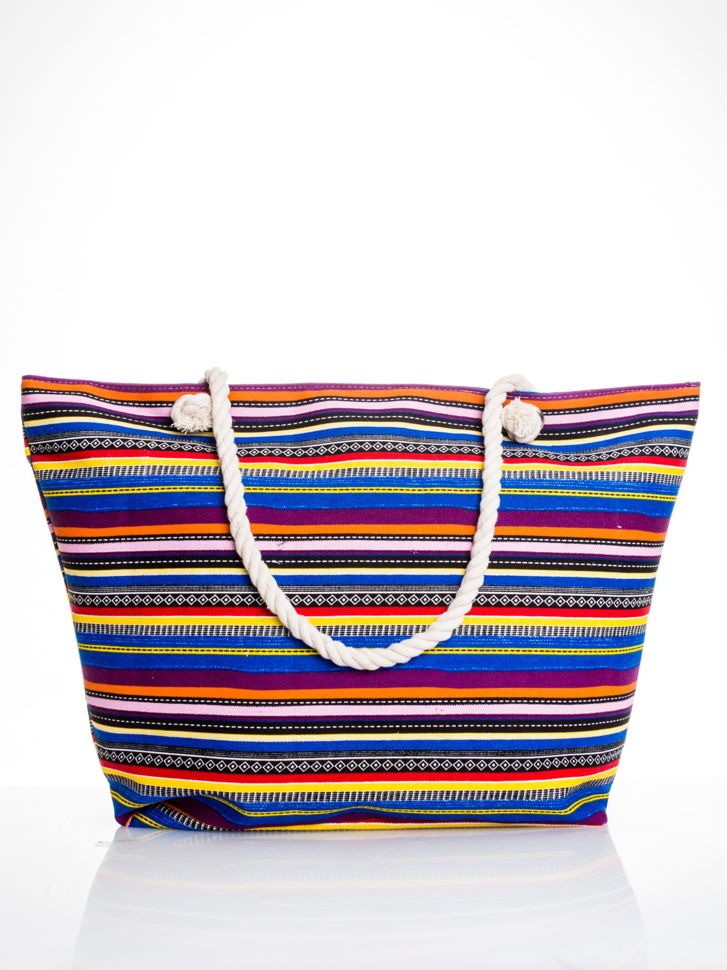 Kolorowa torba plażowa w paski                                  zdj.                                  1